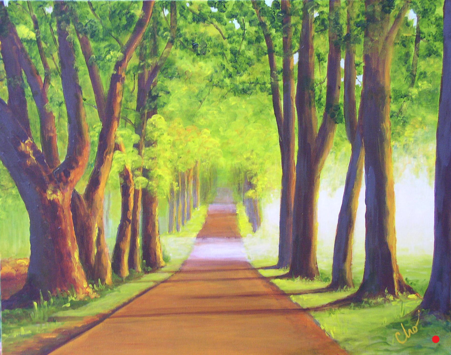 Trees in Morning--16x20 2009