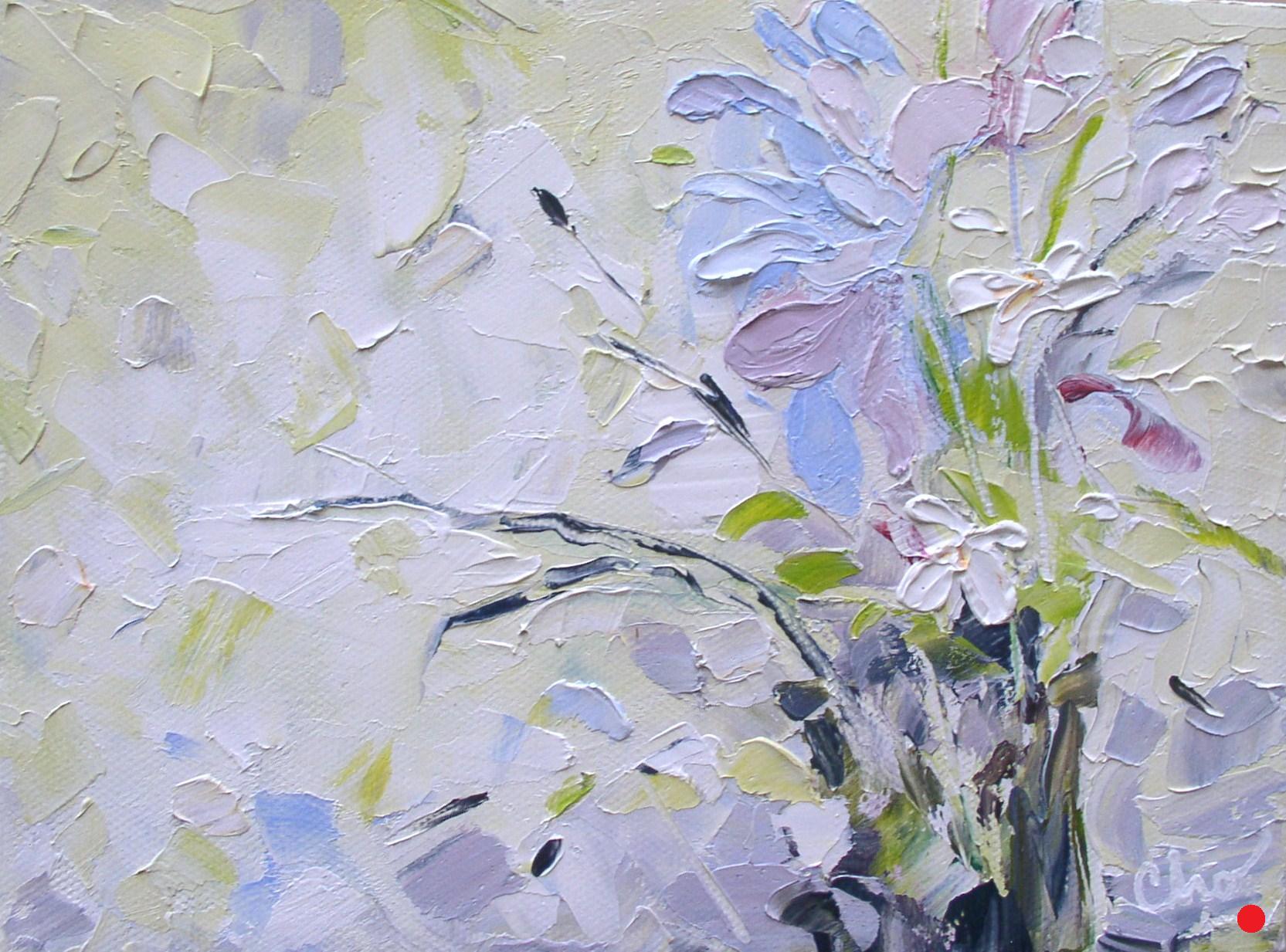 White Flowers in oil--4x6 Sept 2011
