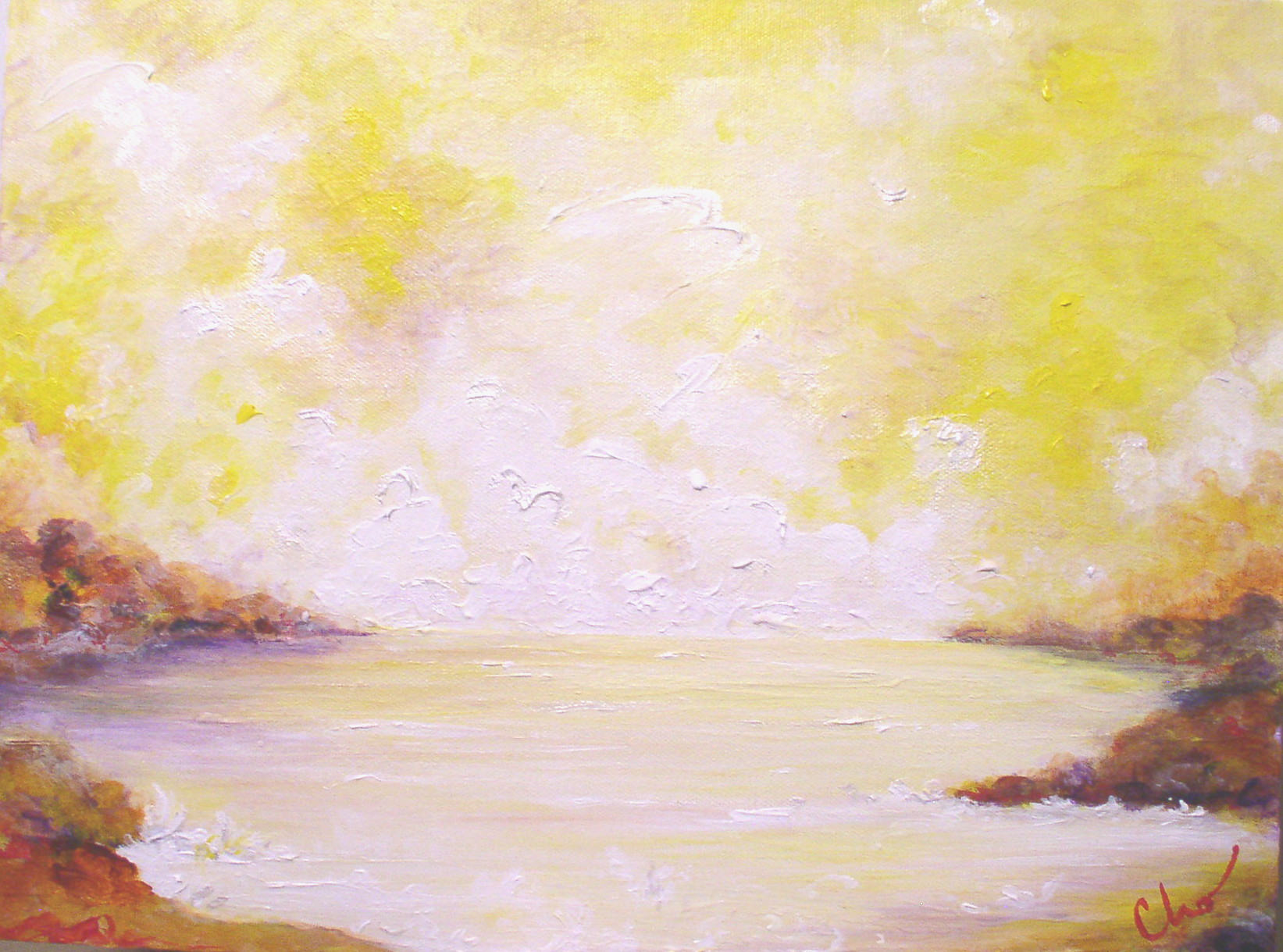 """Immersed in Lightness (March 2009)  I painted this during a Diamond Approach weekend. I remember painting in white for a long time, so long that a little friend of my son's noted on his 6th or 7th run past my easel: """"Mrs. Olson, I don't see what you're painting."""""""