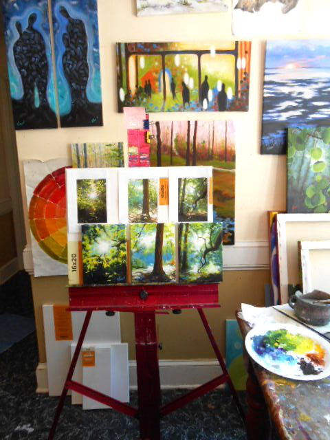 I still paint in my breakfast area. One day that studio will get finished.