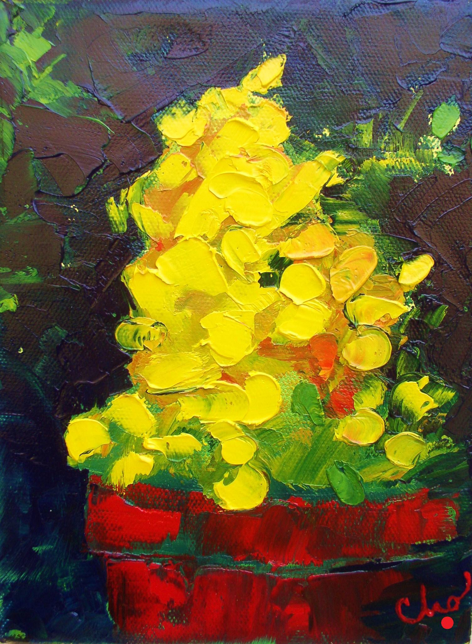 Yellow Flowers in oil 8x6 Sept 2011.JPG
