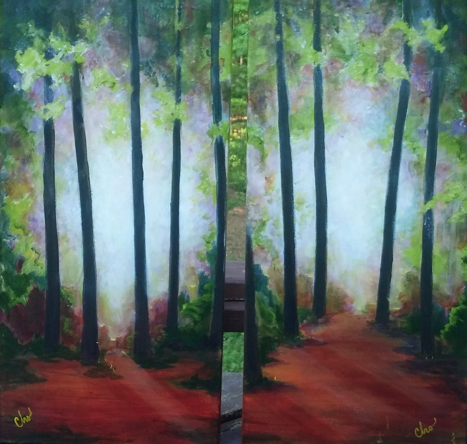 Trees in Mist 2019(diptych)