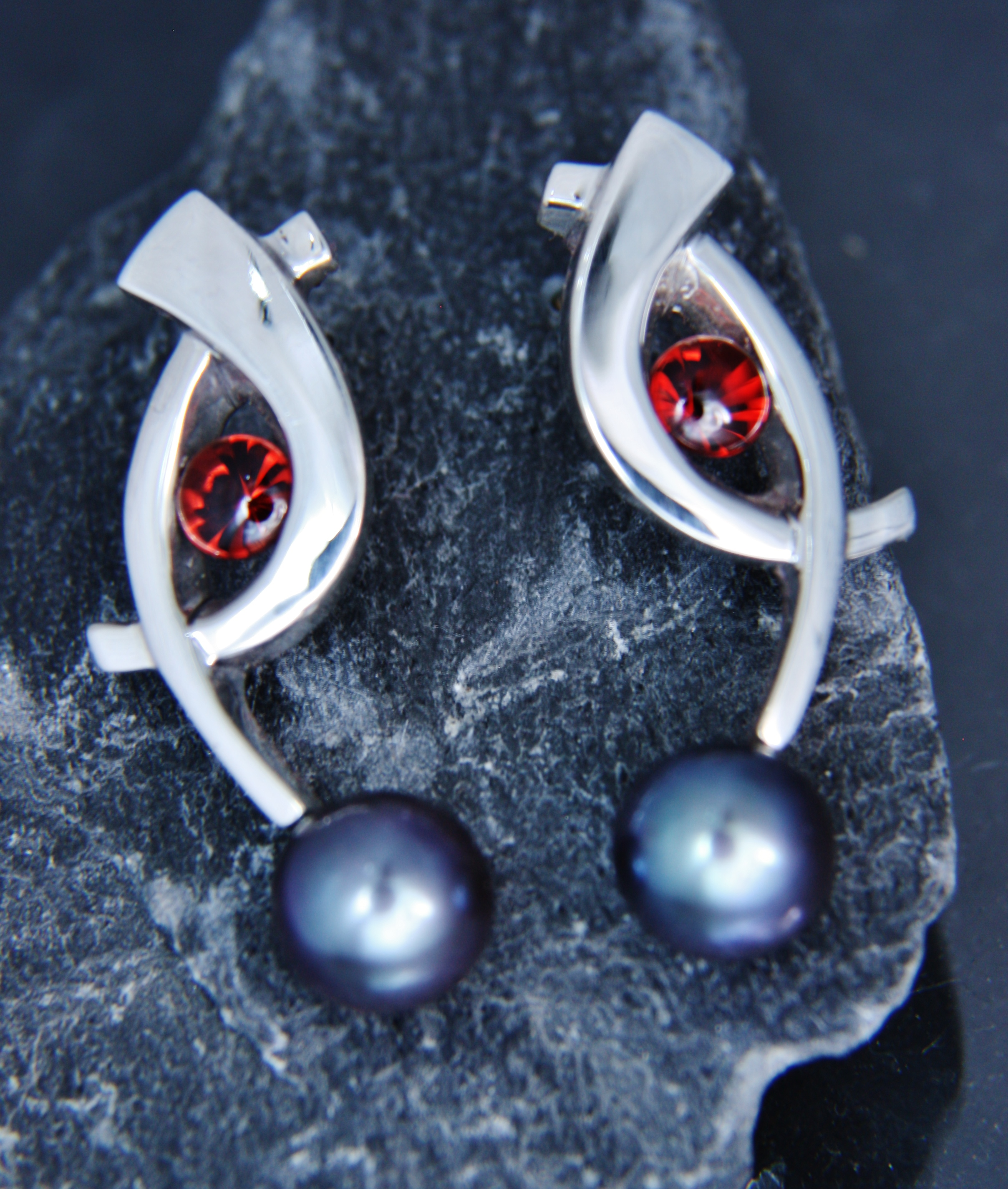 Cast Sterling Silver Earrings with Buffed-Top Garnets and Dyed Freshwater Pearls.