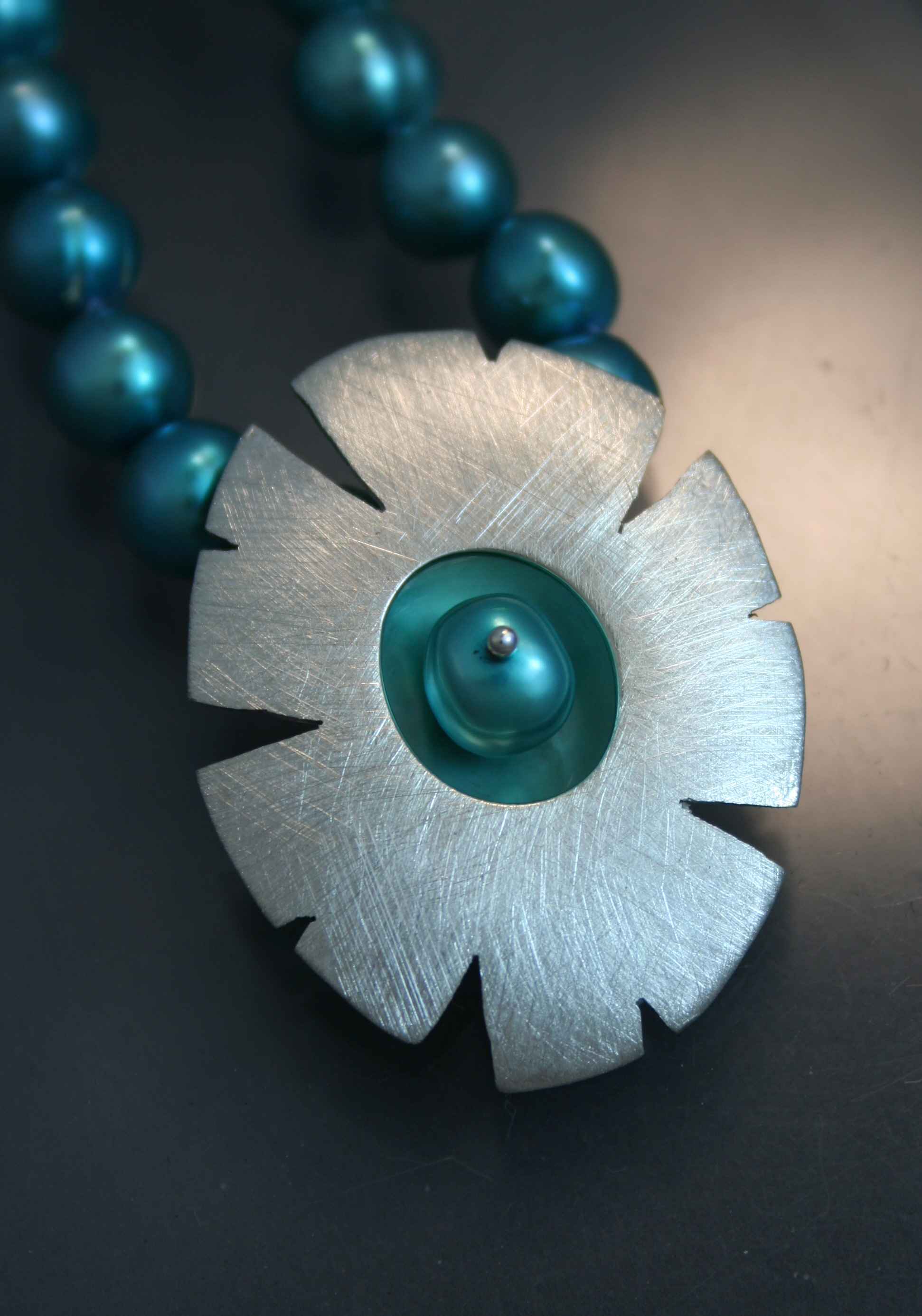 Flower Design-Sterling Silver and Dyed Freshwater Pearl Necklace.
