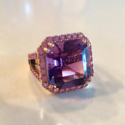 Kimberly Collins design. Amethyst and Sapphire in Rose Gold. Photo courtesy of the designer.