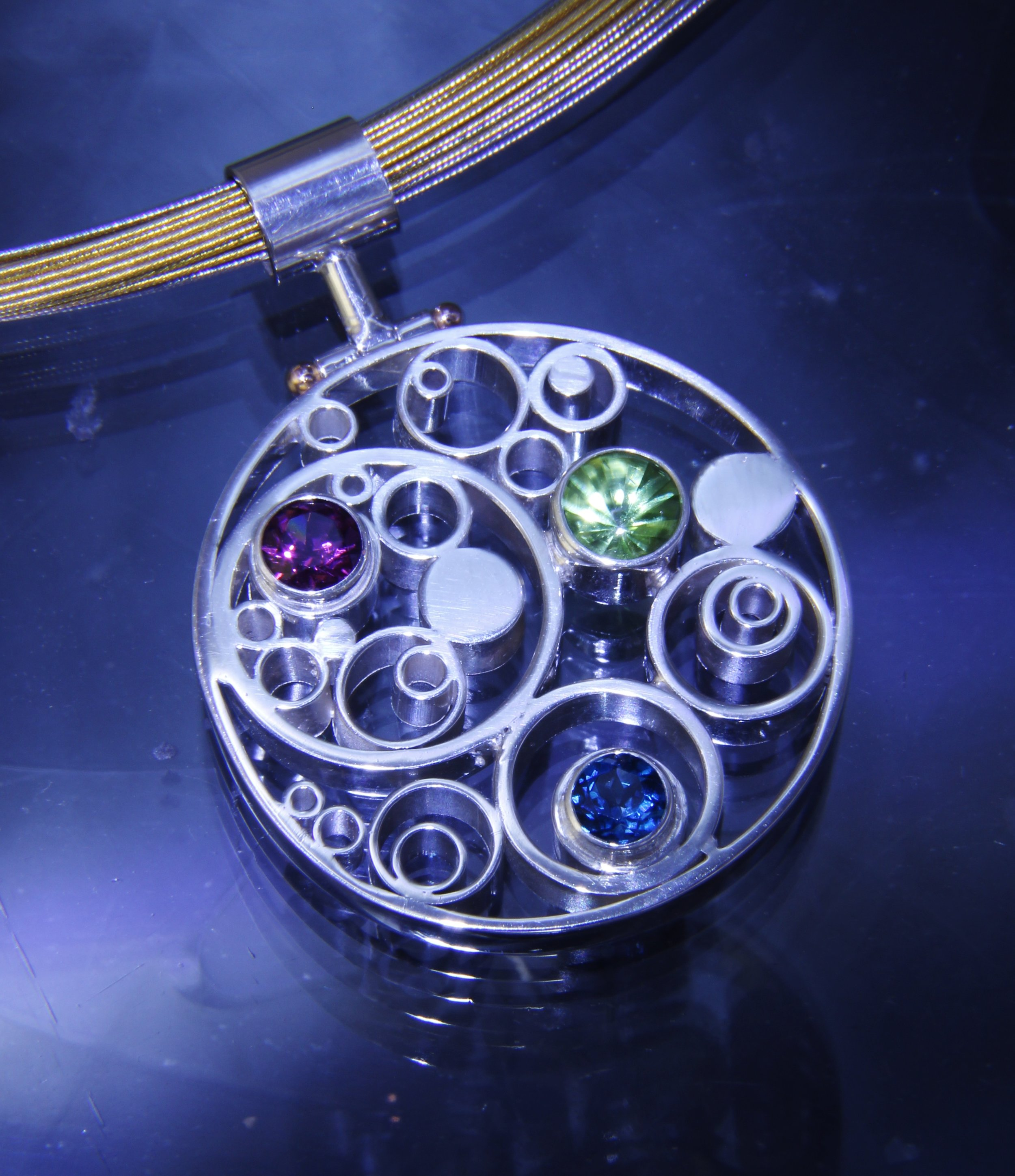 Bubble Pendant Sterling 3 Three Stone Round Gold Rivet Amethyst Peridot Blue Topaz.JPG