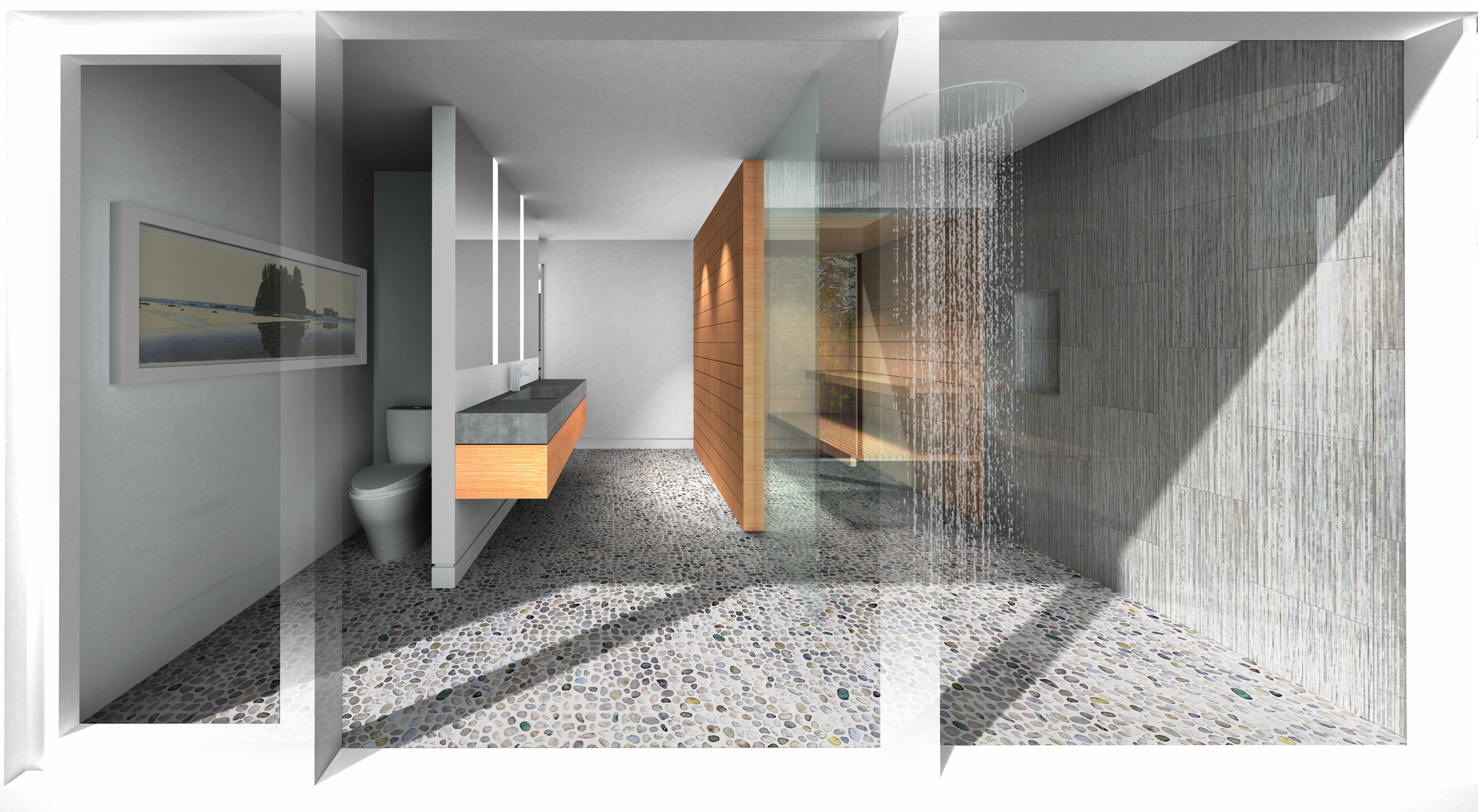 Master Bathroom Concept showing Sauna integration in background to right