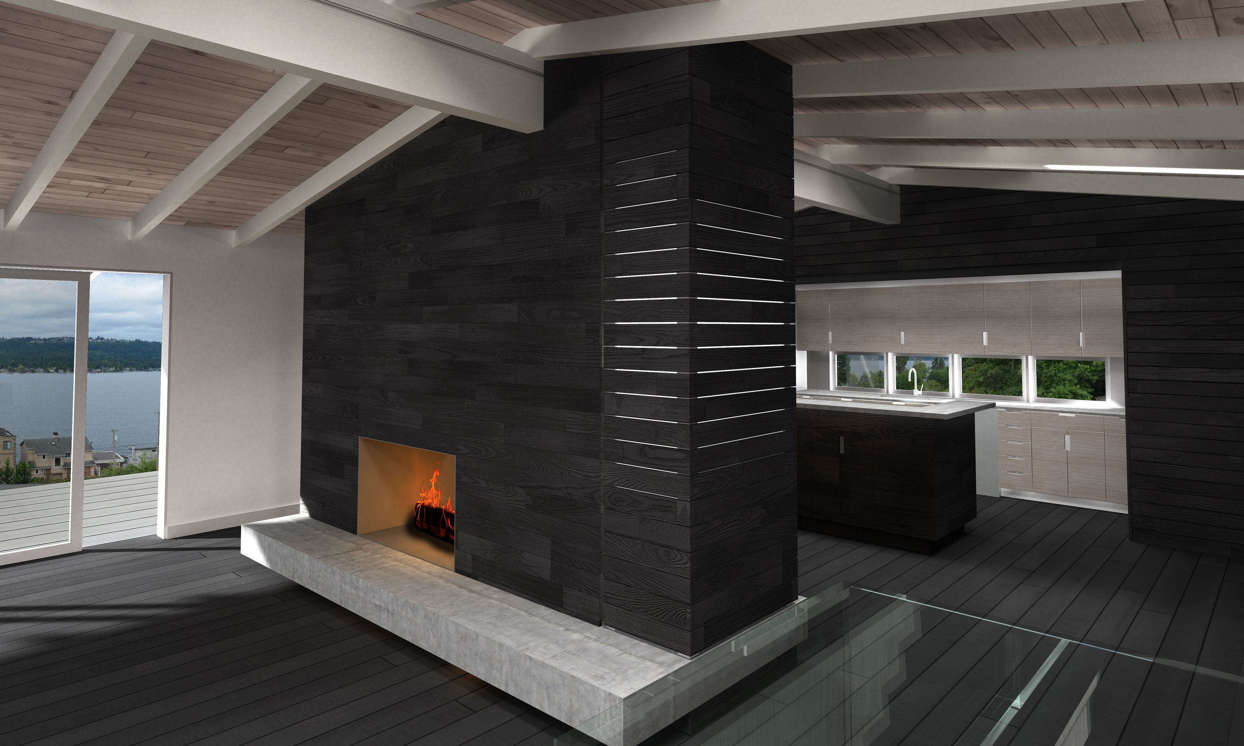 View of Fireplace and lightbox with Kitchen in background.