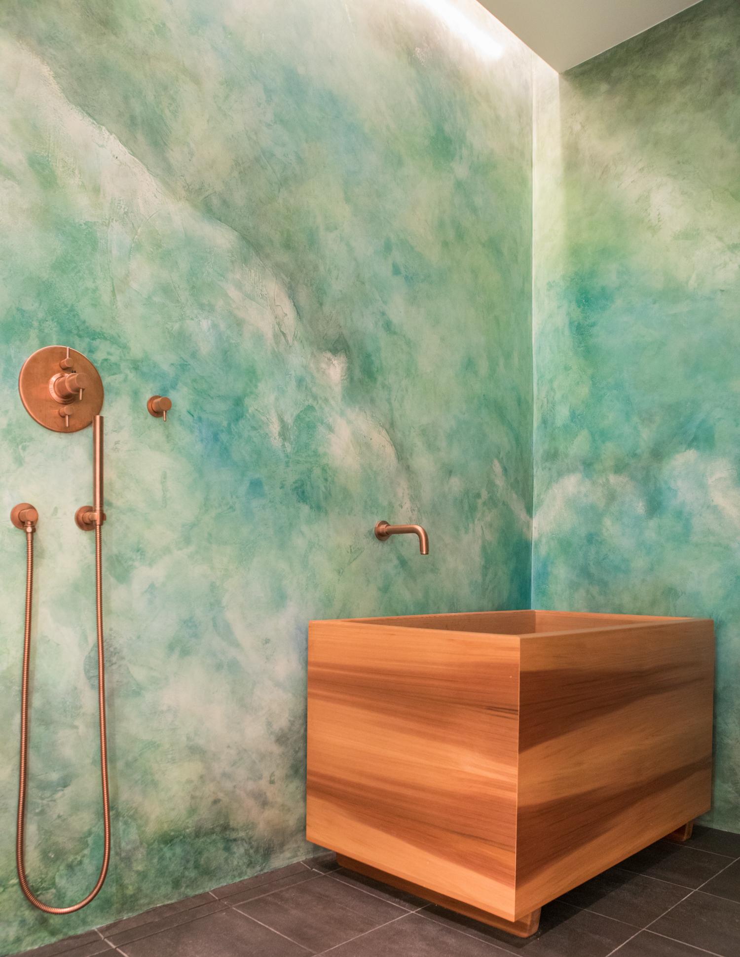 Master Bath Custom Cedar Soaking Tub and Plaster Walls