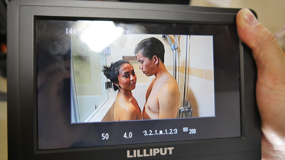 Intimate shower scene with Derrick as the lead role