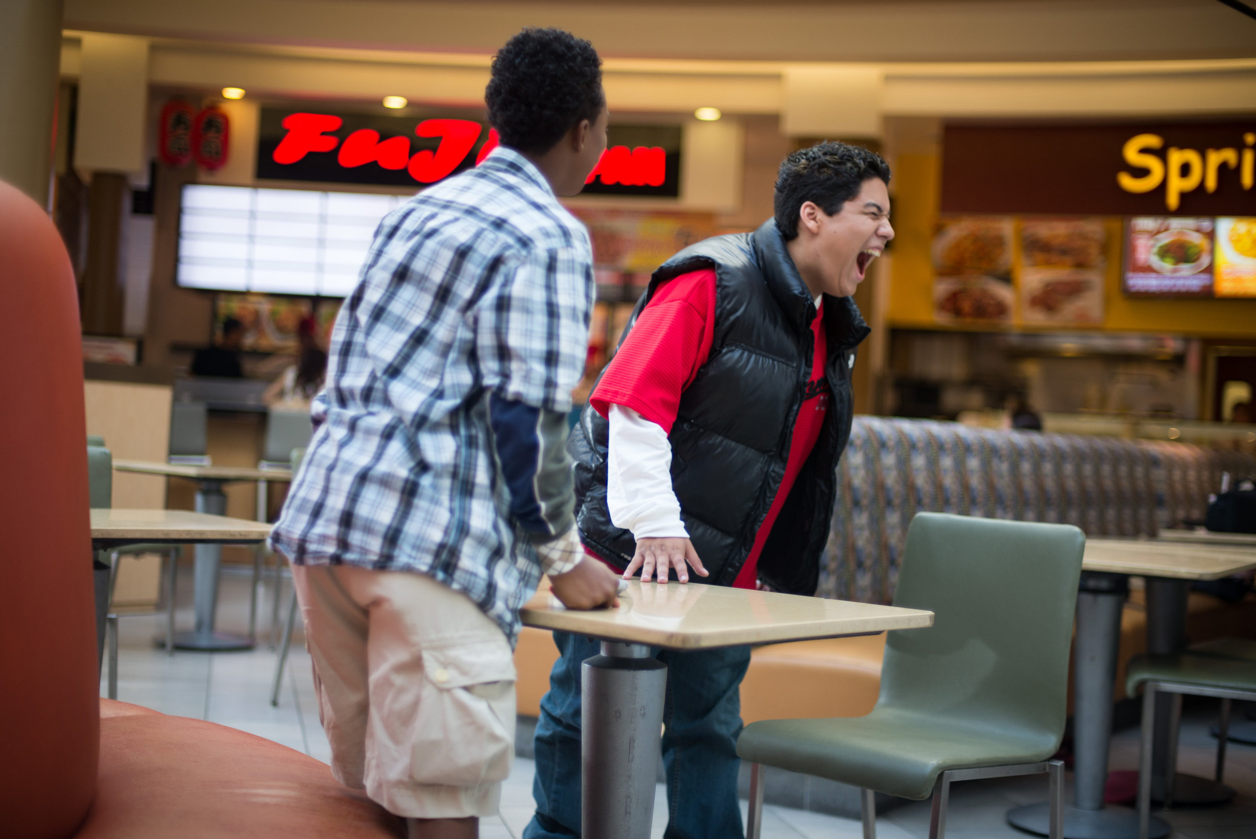 Stevey's explosive scene at the food court even had innocent shoppers frightened.
