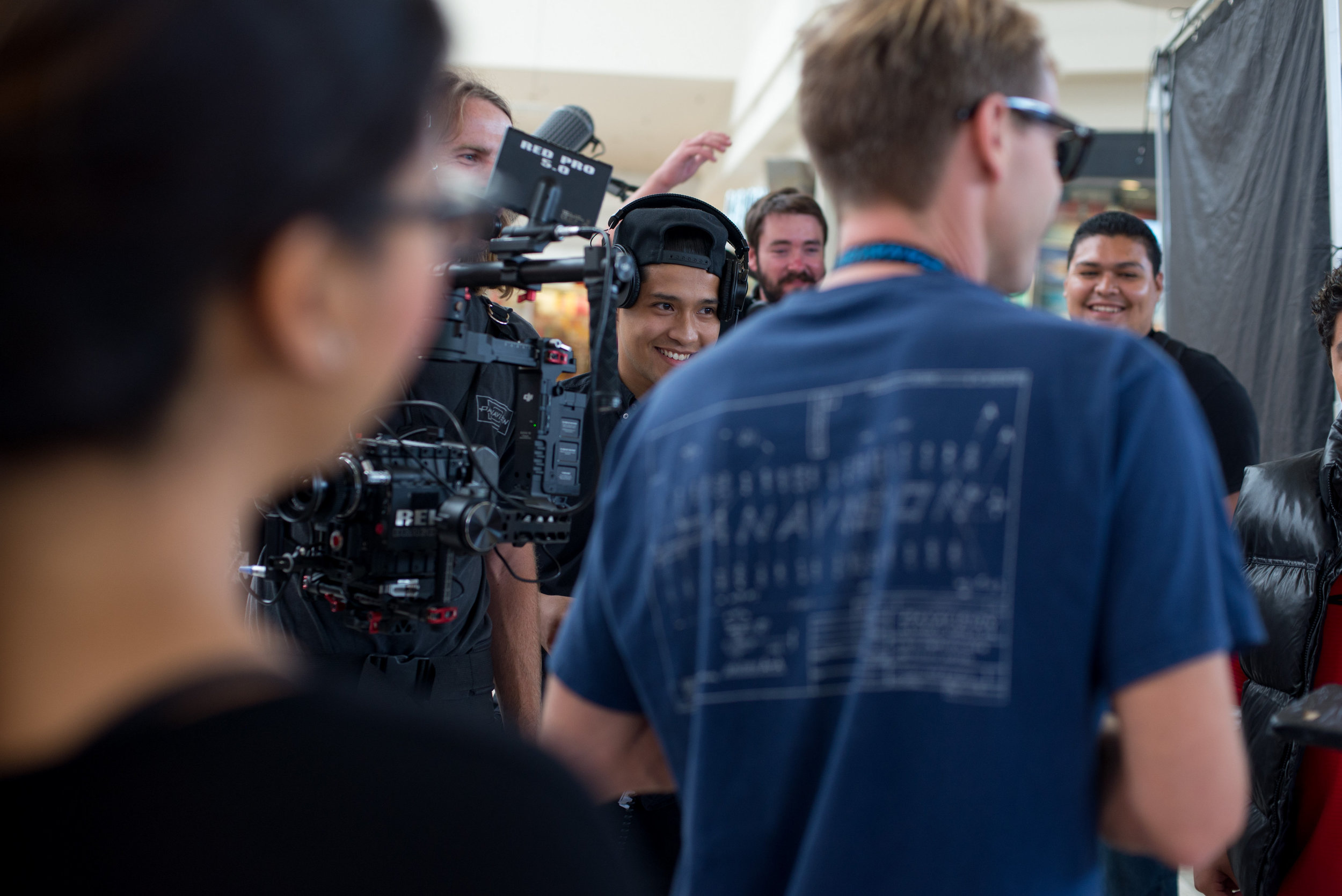 The crew couldn't help but smile and blush during the scene.