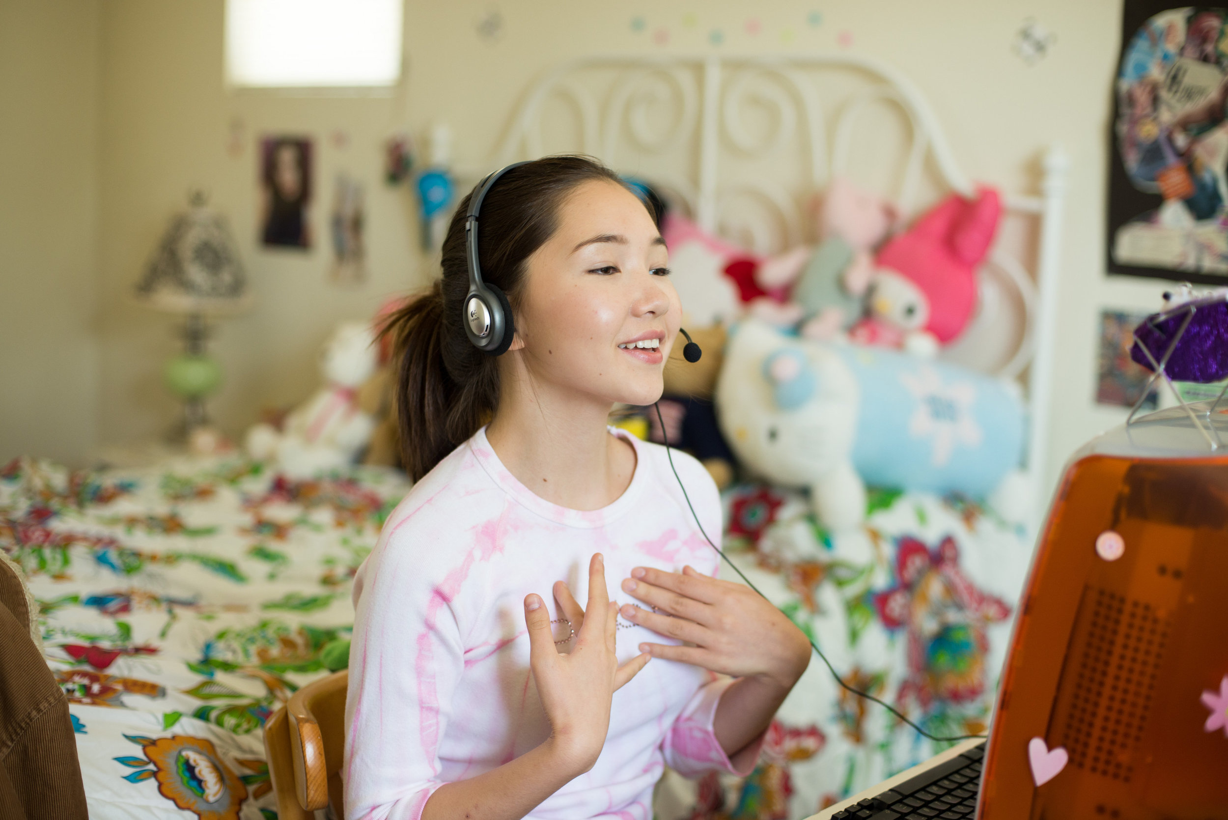 """One of the b-roll scenes where """"Jessy"""" who is an aspiring singer shows off her skills."""
