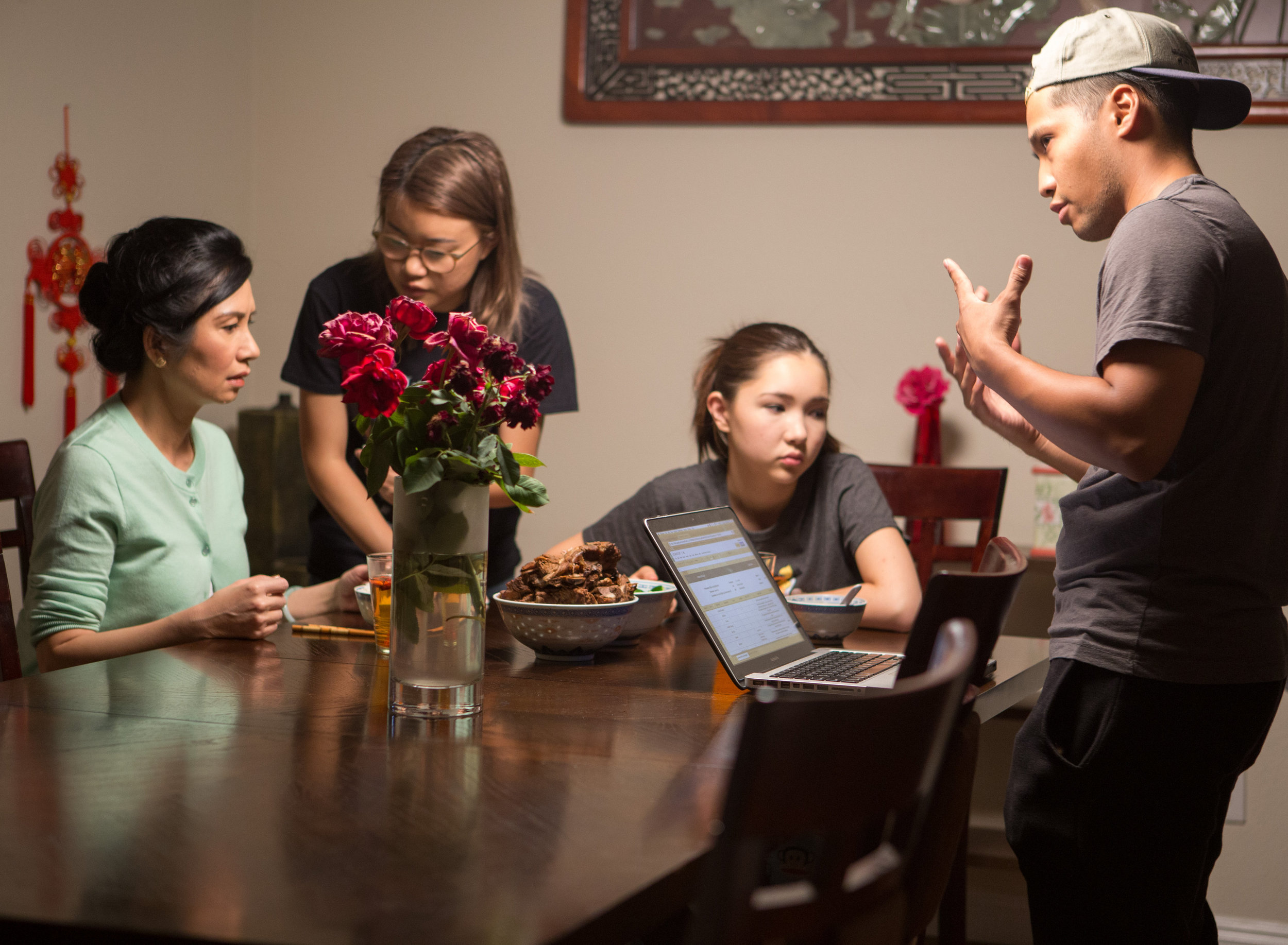 Eichin Chang-Lim and I preparing for the dinner scene with her set daughter, Evelyn Warner.