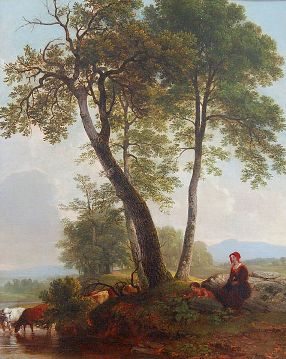 Asher Brown Durand (1796-1886)   Pastoral Scene , not dated. Oil on canvas.  HMA purchase, 1954.3. (Left-hand detail below.)