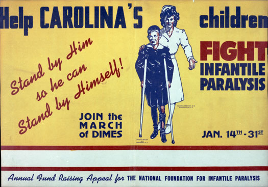 "The fund raising efforts in North Carolina originated the idea of poster children as donation motivators; and the first North Carolina poster child was this boy who was photographed at the Hickory hospital .  ""In 1946 the [National Foundation's fund raising] March of Dimes introduced its first 'official' polio poster child. The idea was controversial…. How did one portray a polio victim? As cheerful and optimistic or frightened and sad? … Guided by the 'Miracle of Hickory' campaign, the foundation chose option No.1…."" (From David Oshinsky's 2005 ""Polio: an American Story.)"