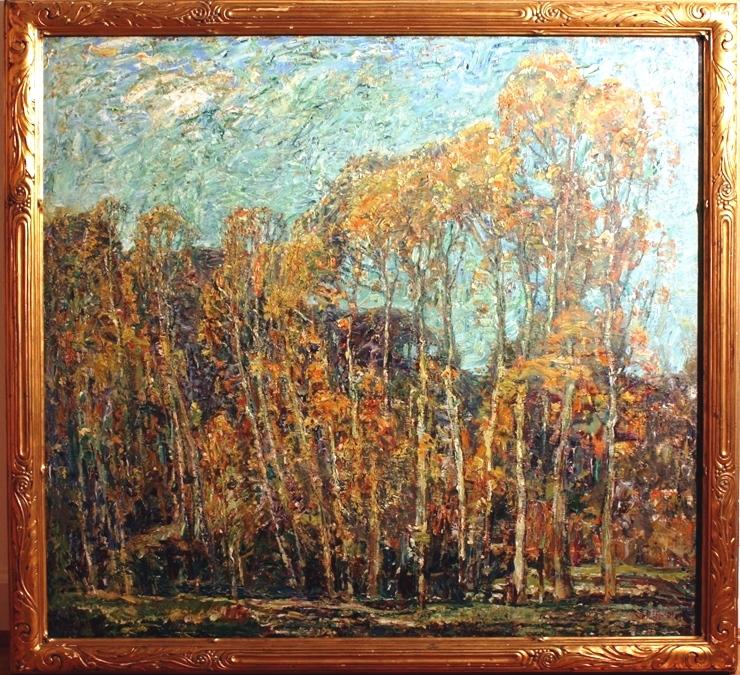Walter Griffin (1861-1935)  Autumn Poplars, Boigneville , 1911. Oil on canvas. Purchase from artist's widow, Eleanor M. Proctor. 1952.8