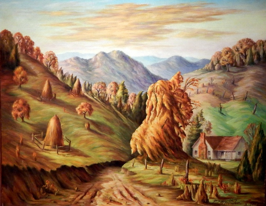 Paul's 1940 impression of the Blue Ridge Mountain homestead where Mickey grew up.