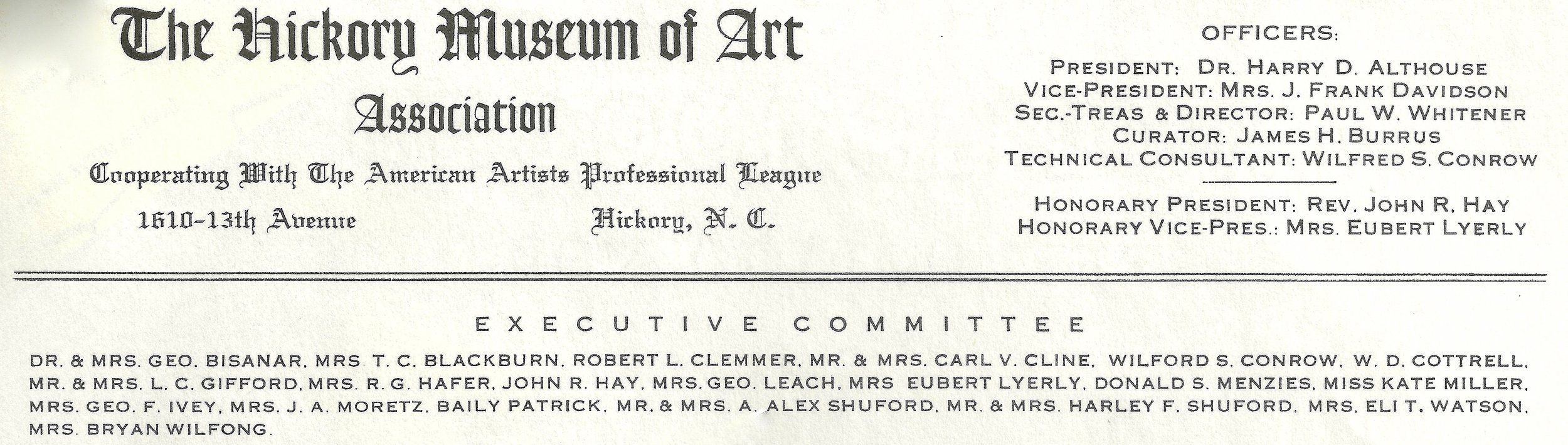 "On this 1951 HMA letterhead, Wilfford Conrow appears both as a ""technical Consultant"" and as part of the Executive Committee. His continuing deep involvement with HMA was obvious, even if his name is misspelled once on that letterhead."