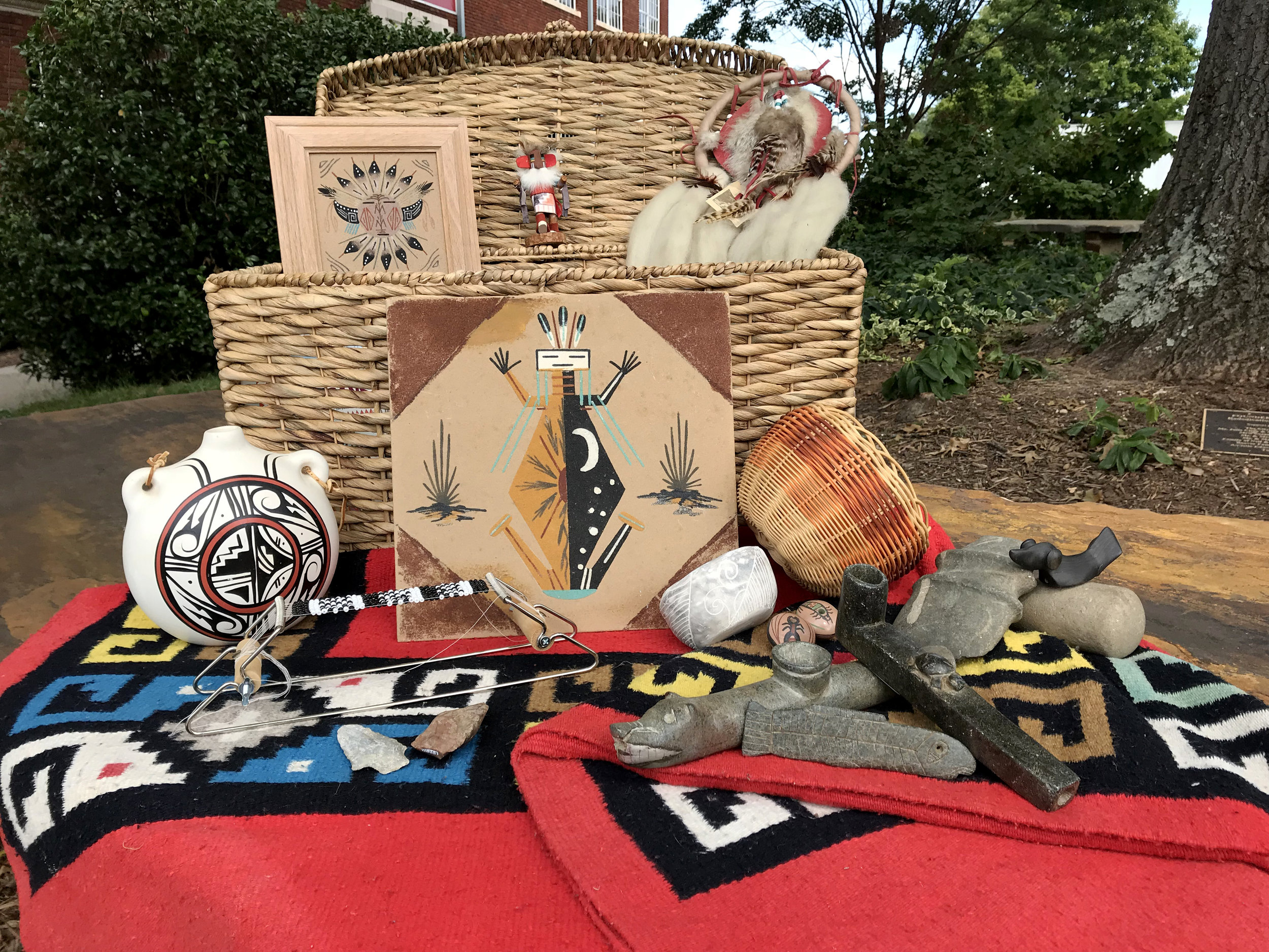 Native American Kit |  Hopi Kachina doll, mandella, art print, Navajo wool blanket, books, lesson plans, Cherokee basket, arrowheads, stone pipes, and ceramic canteen.
