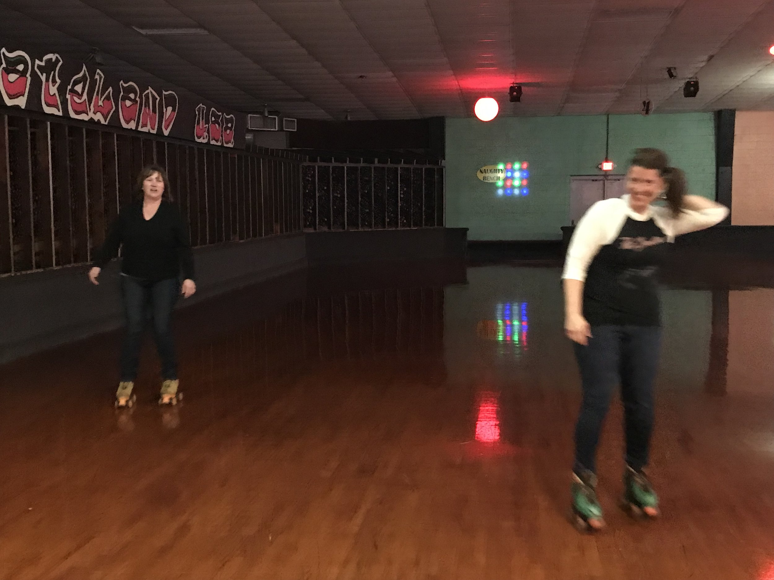 Kristina and Mary Johnson at a skating party for Jon's 40th birthday.