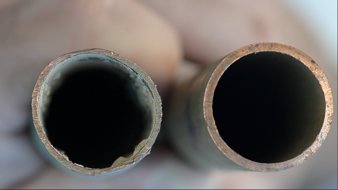 This 40 year old pipe was removed from a home with a slab leak. The home had no water softening system. Compared to a brand new pipe, you can't see much of a difference.