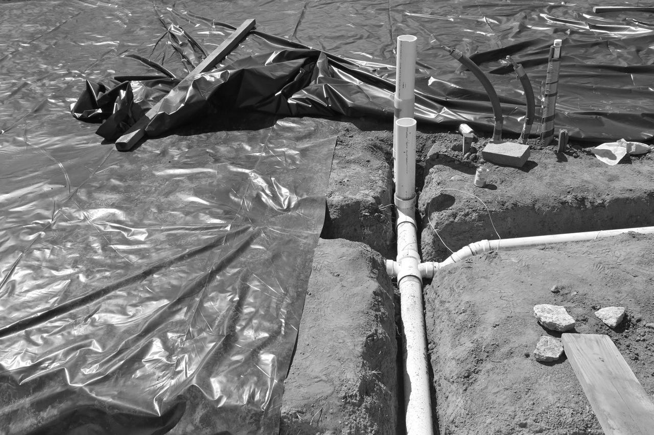 18 August 2014: Black plastic vapor barrier.