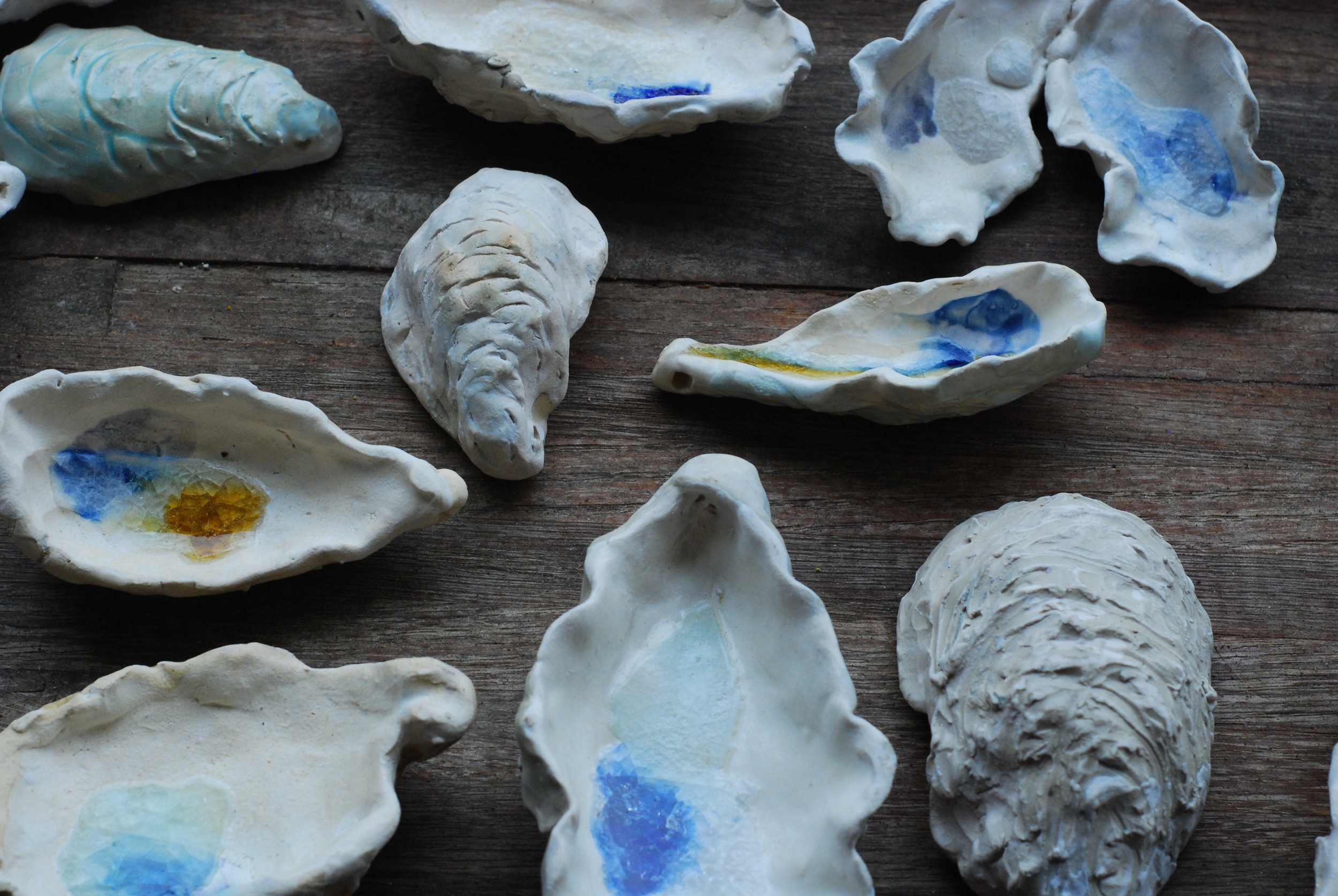 Porcelain and sea glass oyster shells.  These really are my favorite new things to make.