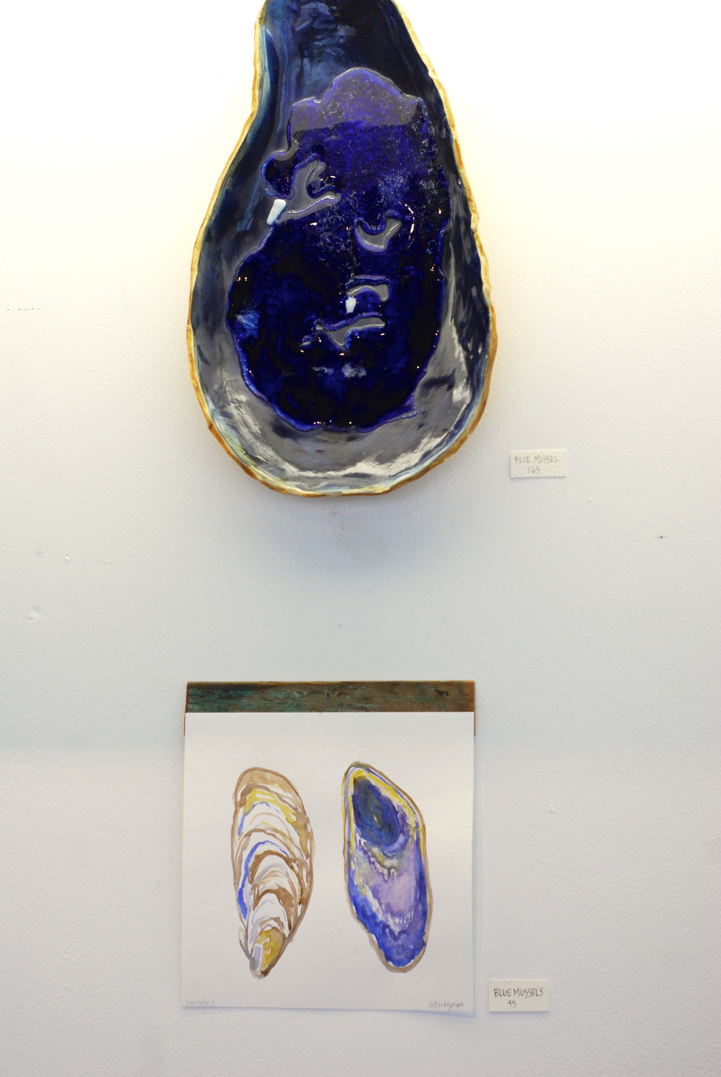 These big blue mussel platters (there are two) were some of my favorite pieces in this show.