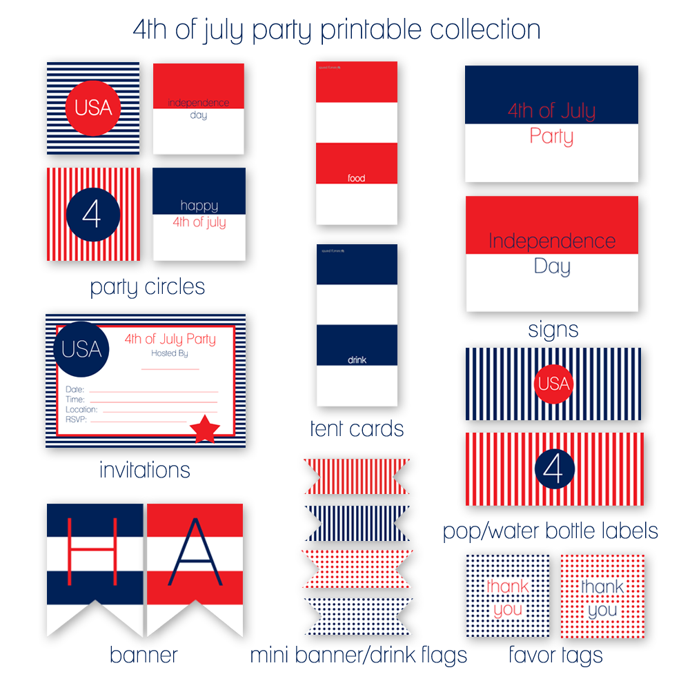 4th of July Party Printables | KristiMurphy.com | DIY Ideas