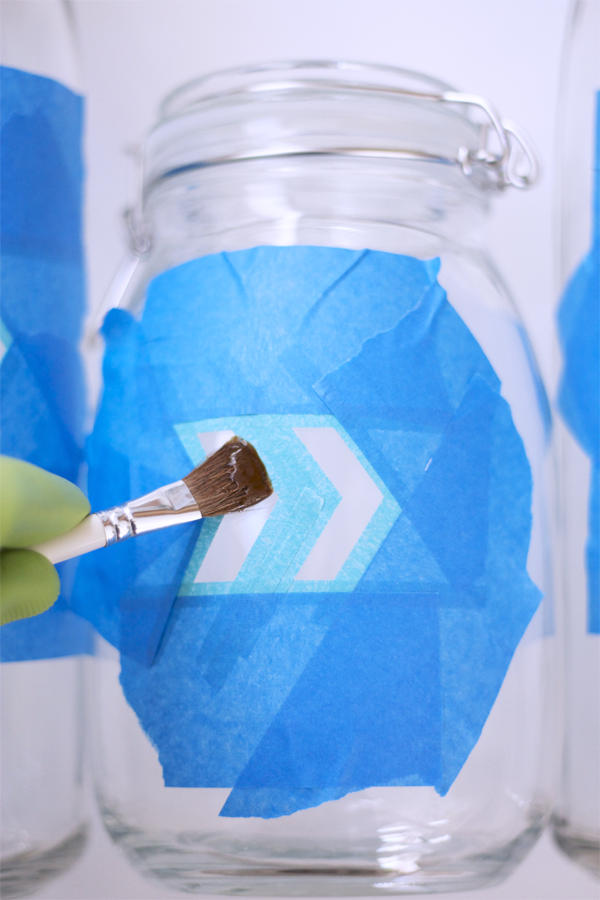 Paint a generous amount of etching cream onto pattern. Wait 15 minutes to let sit, and rinse with water.