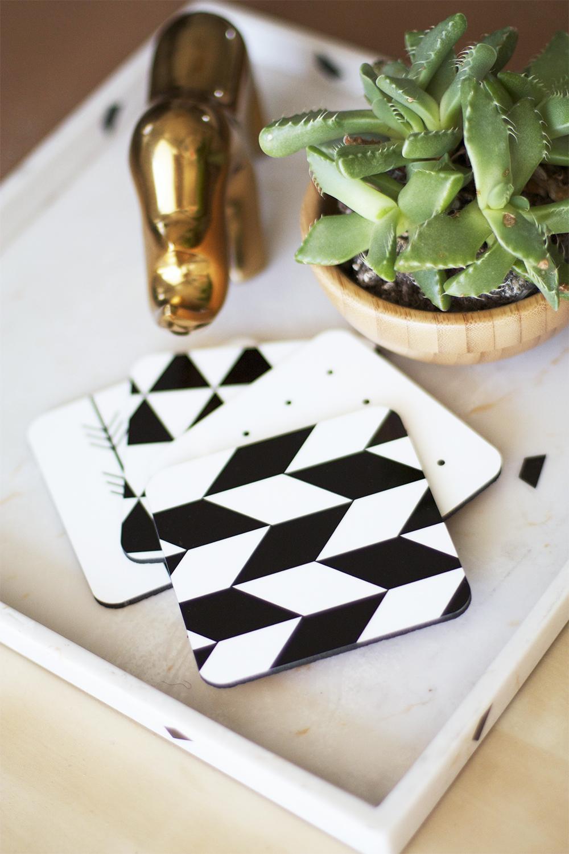 DIY Black and White Coasters