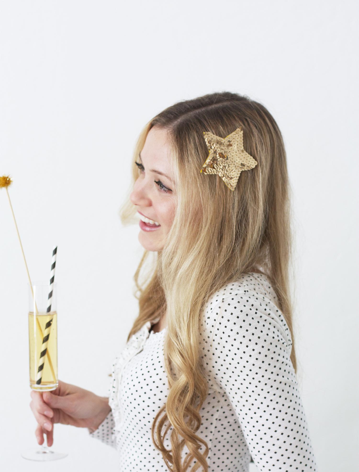 Gold Sequin Hair Barrette