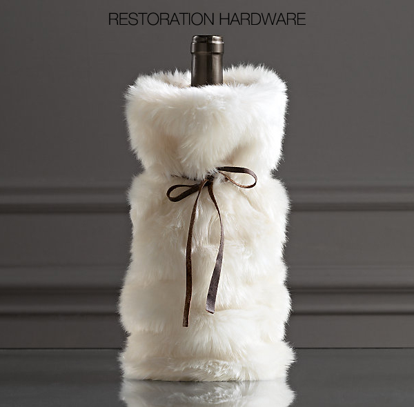 Details about  /NEW Restoration Hardware 2018 Holiday Luxe Faux Fur Satin Lined Wine Bag Cream