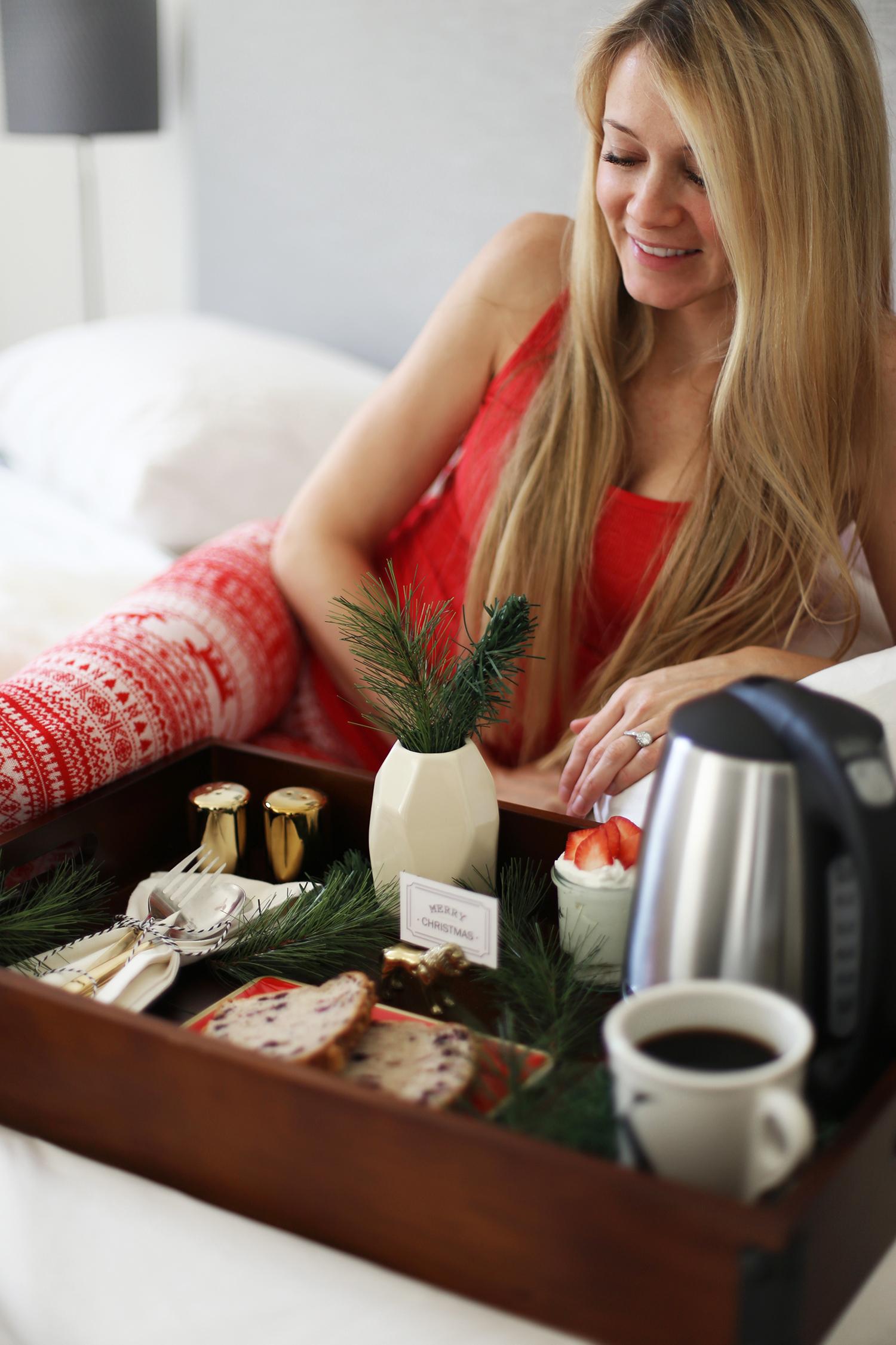 Christmas breakfast in bed