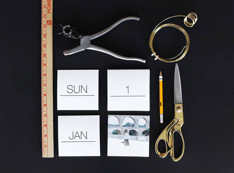DIY Instagram calendar supplies