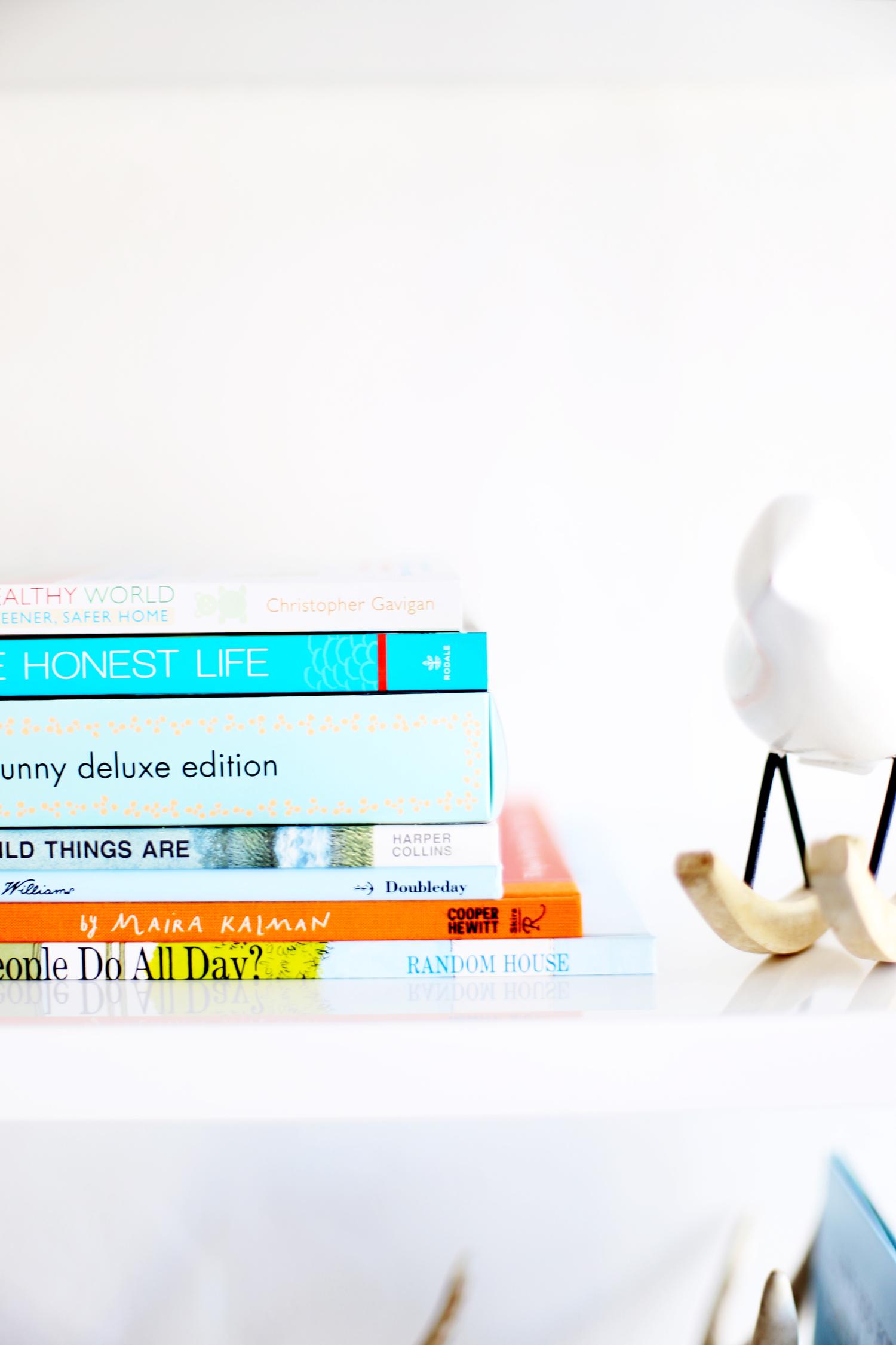 books on nursery shelf gift for baby shower