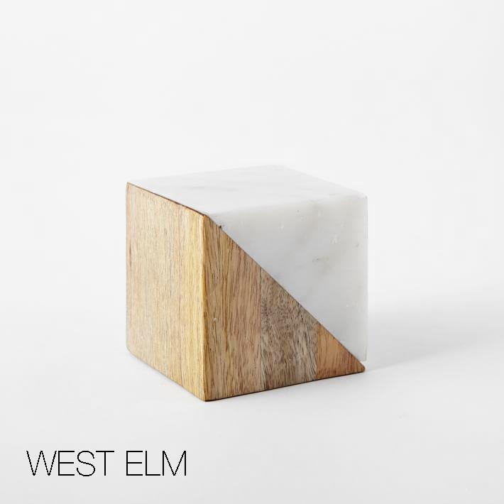 West Elm marble and wood blocks