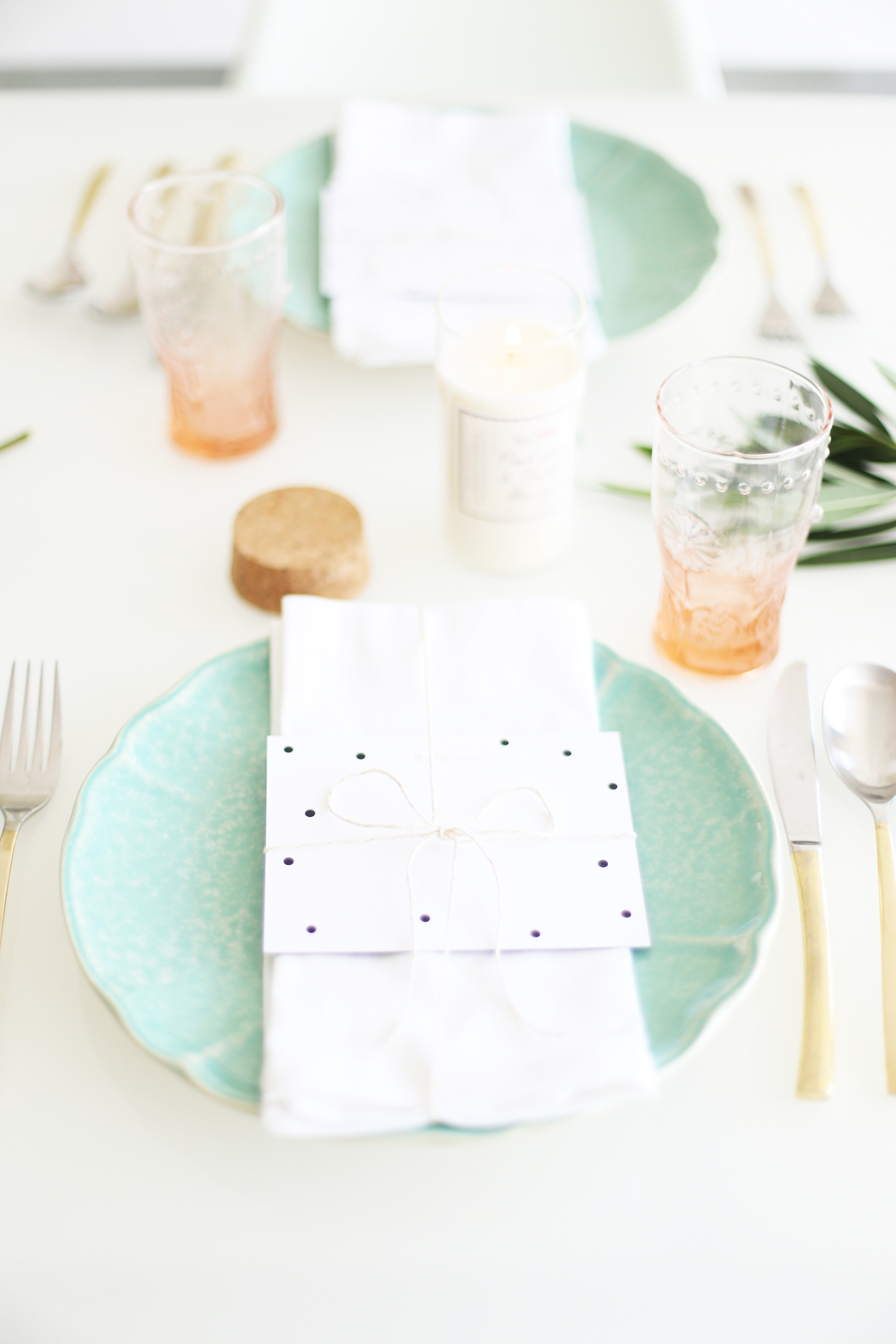 mint and pink place setting
