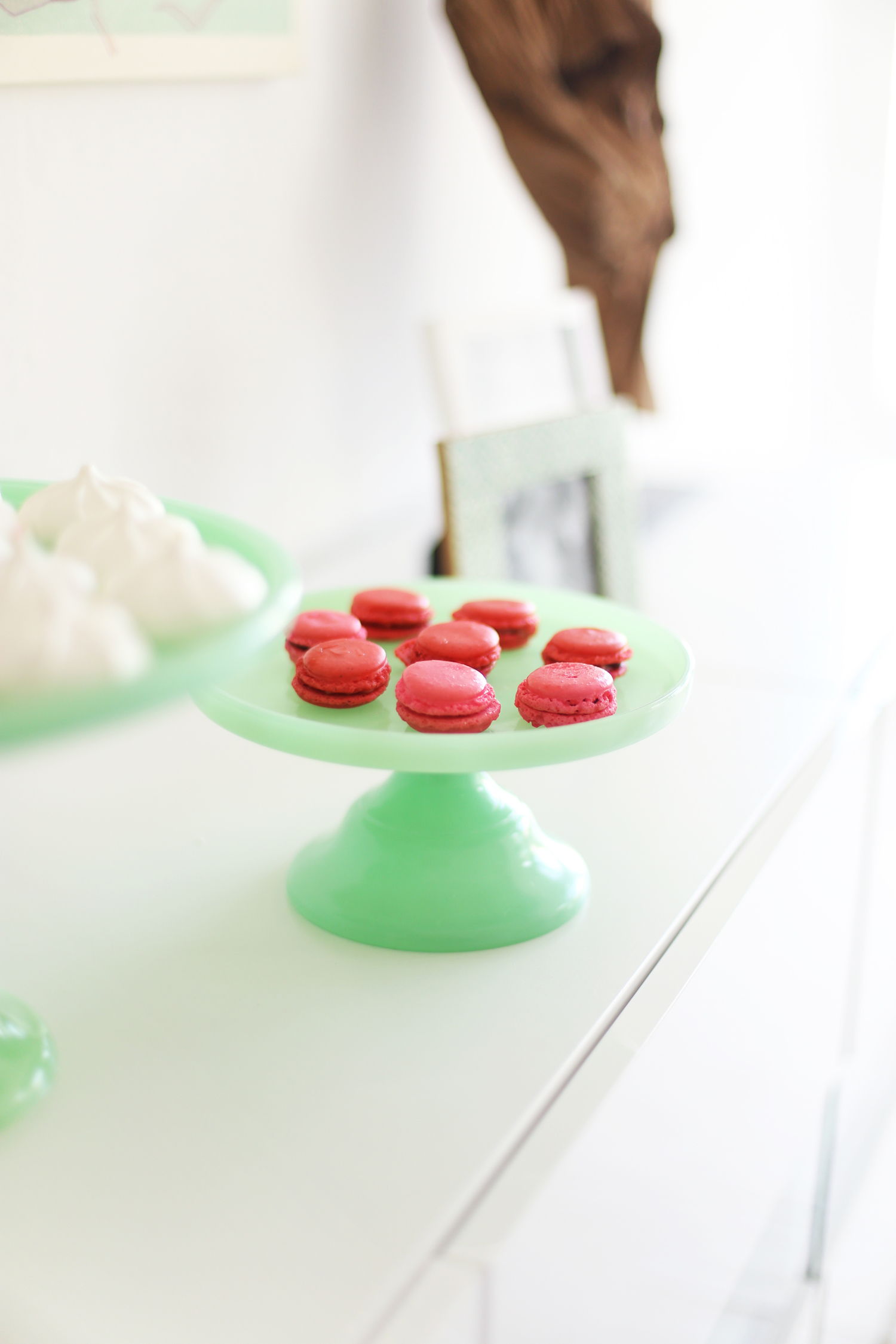 pink macarons on a jade cake stand pink and mint party ideas