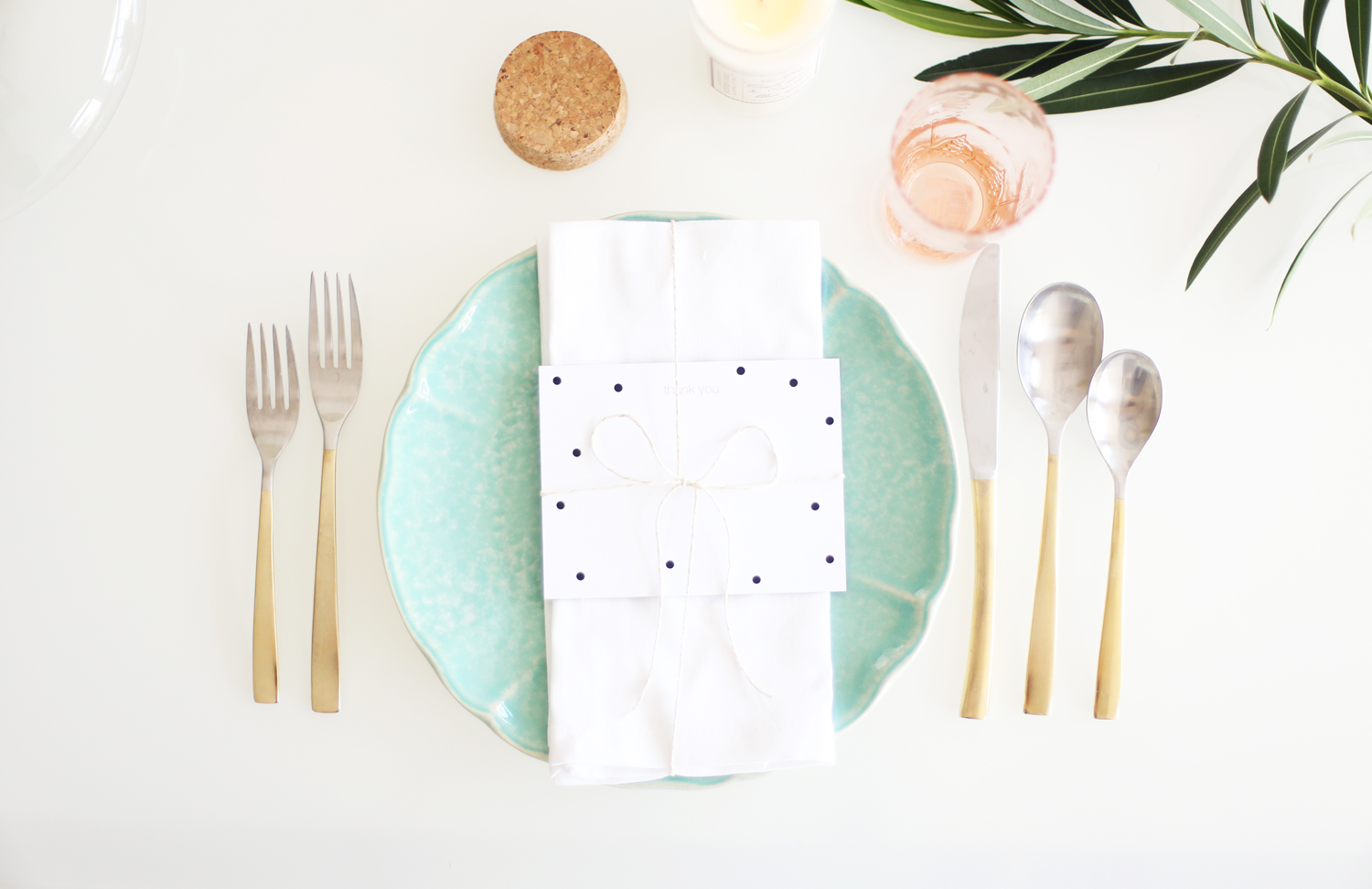 pink and mint place setting