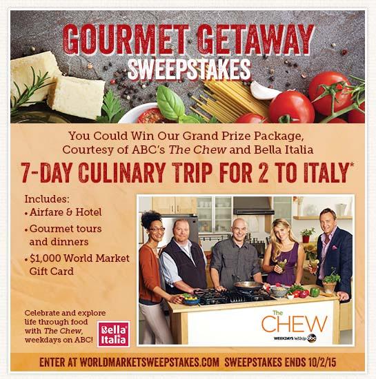 World Market Gourmet Getaway Sweepstakes