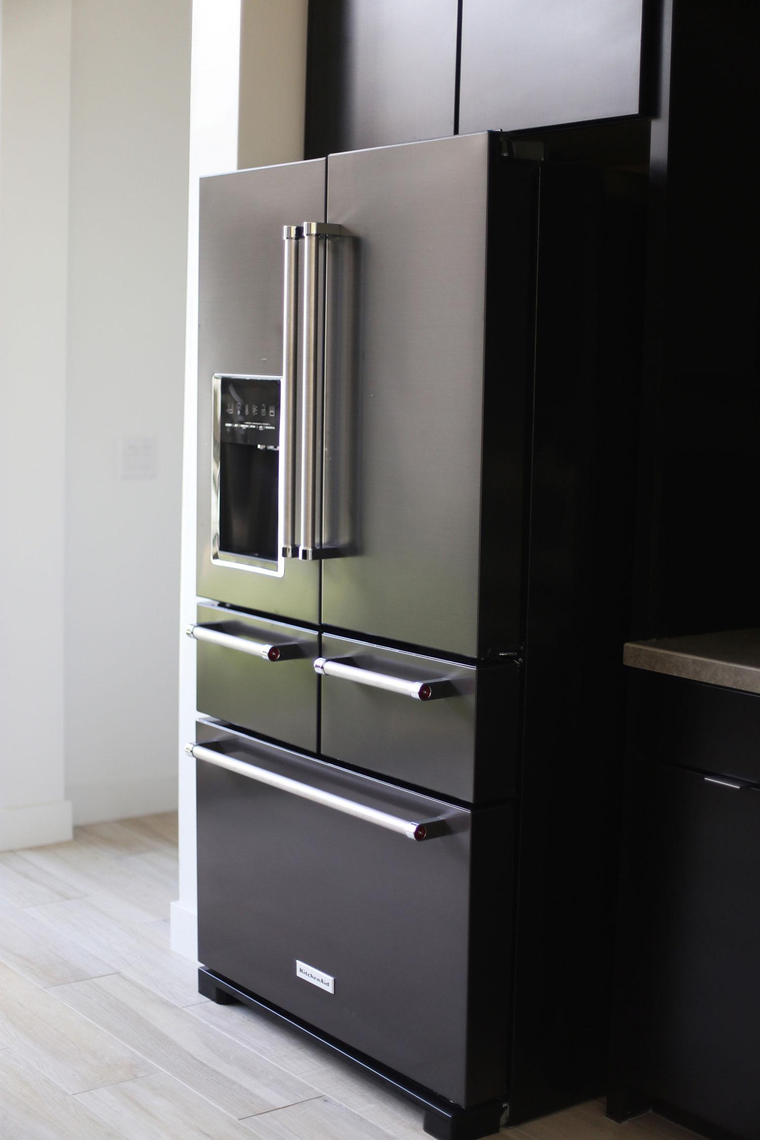 KitchenAid black stainless steel 5 drawer refrigerator