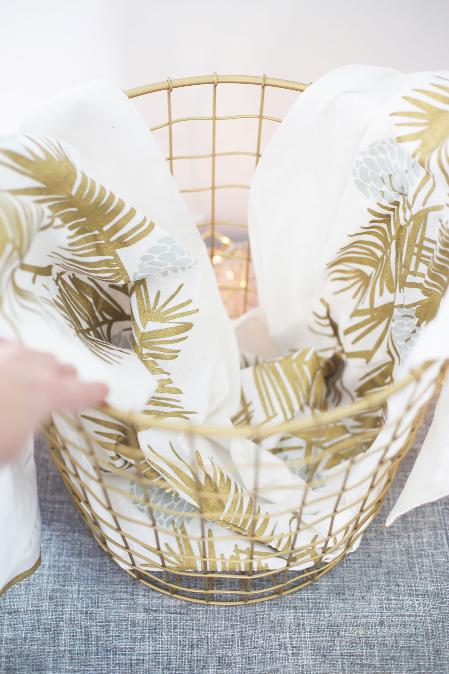 putting together a gift basket