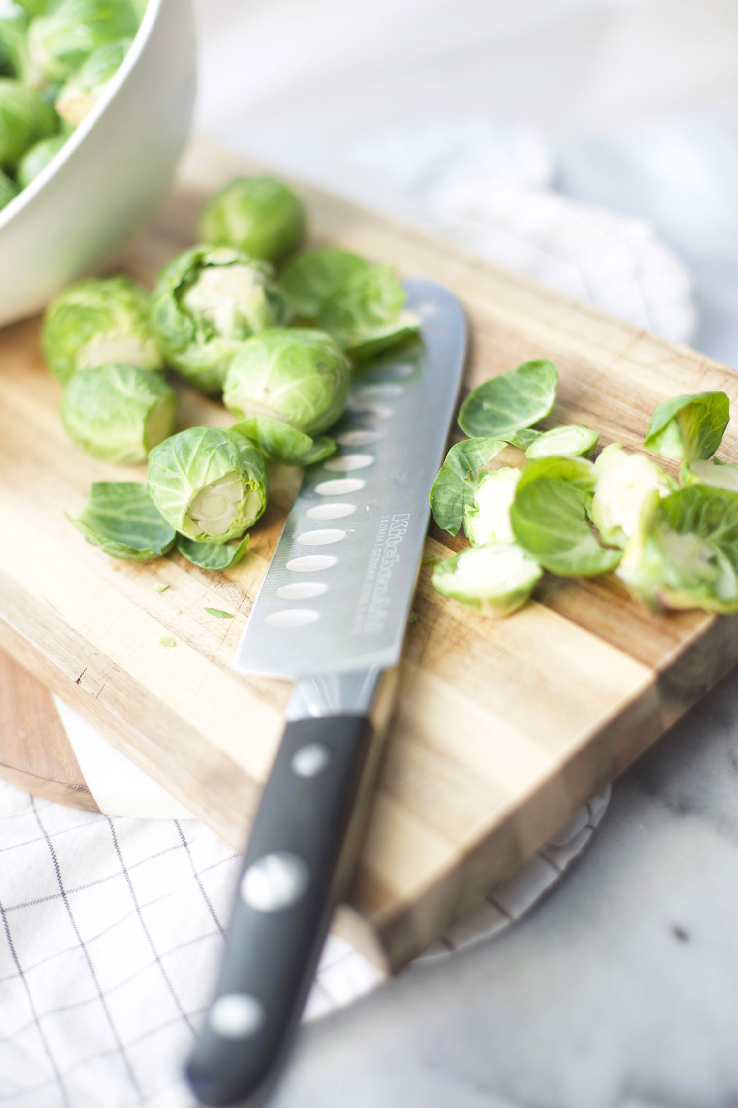chopping brussels sprouts