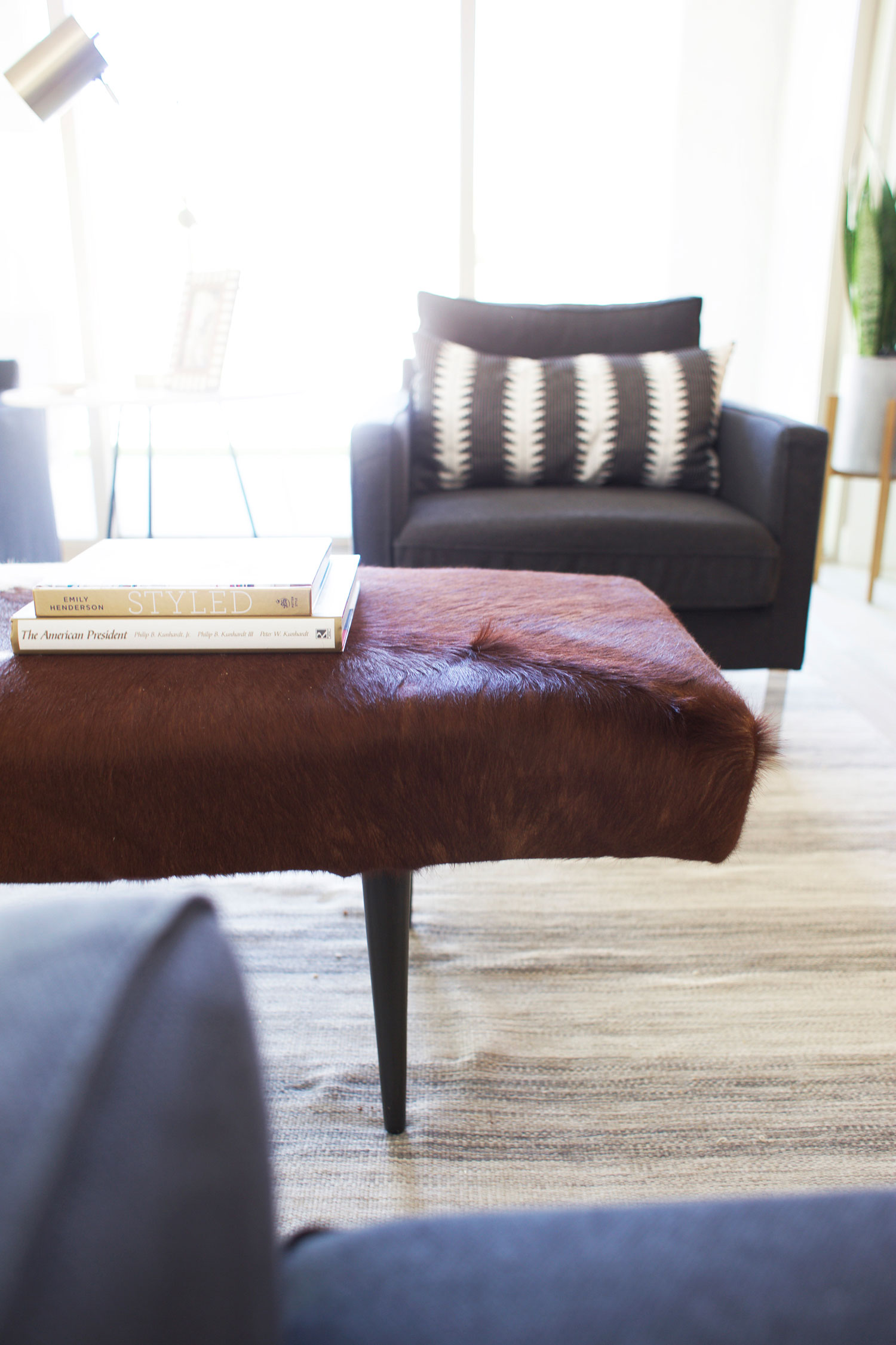 IKEA hack cowhide ottoman