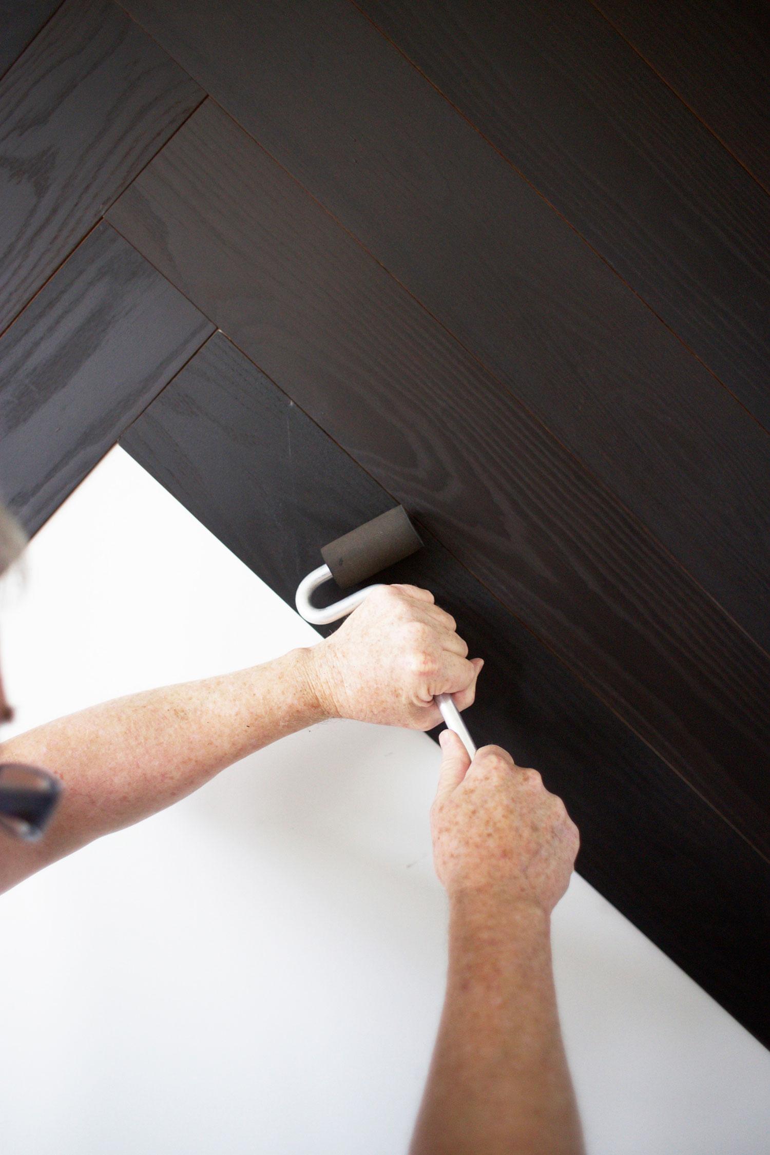 DIY herringbone wall step 3