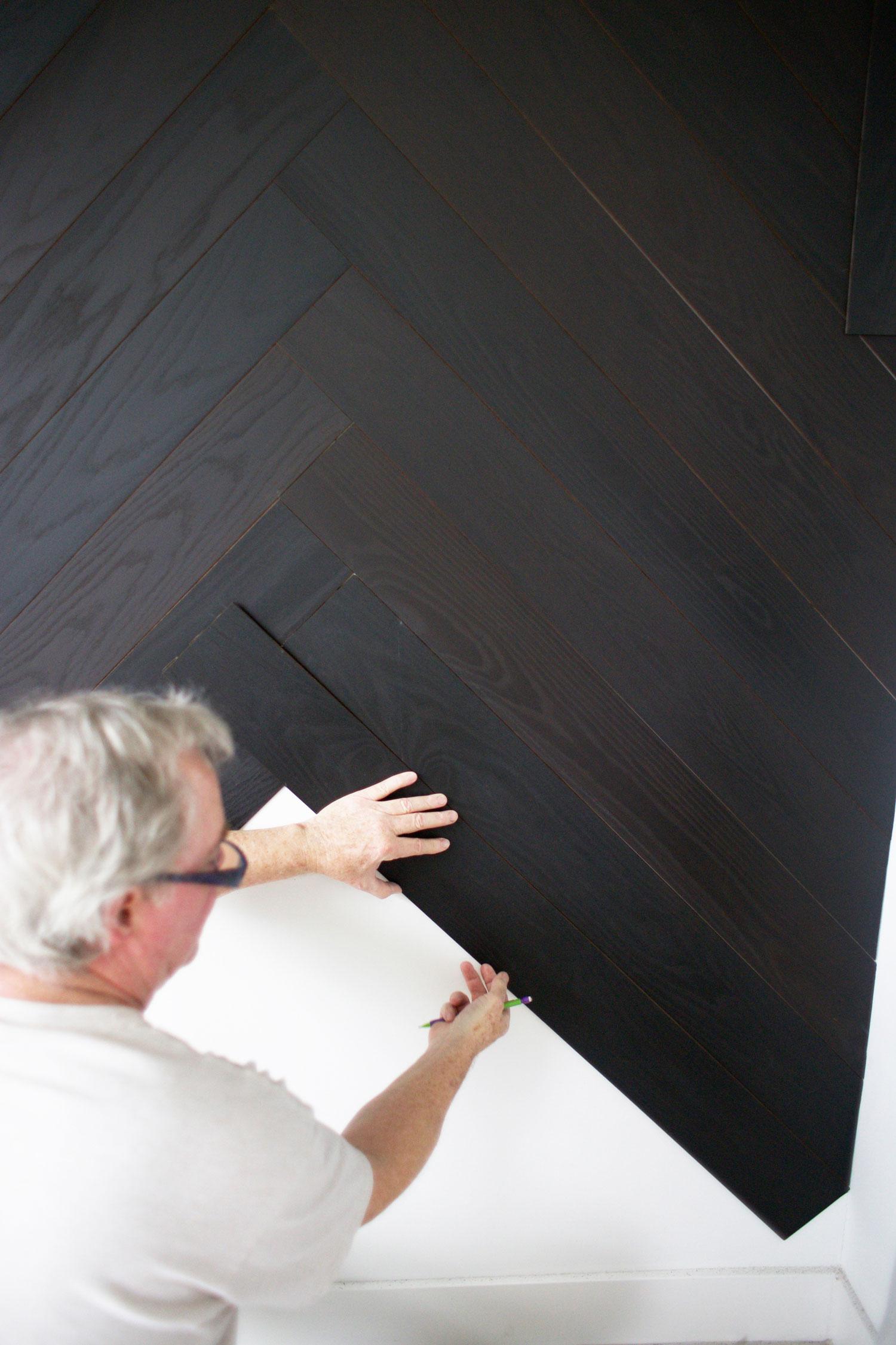 DIY herringbone wall step 5
