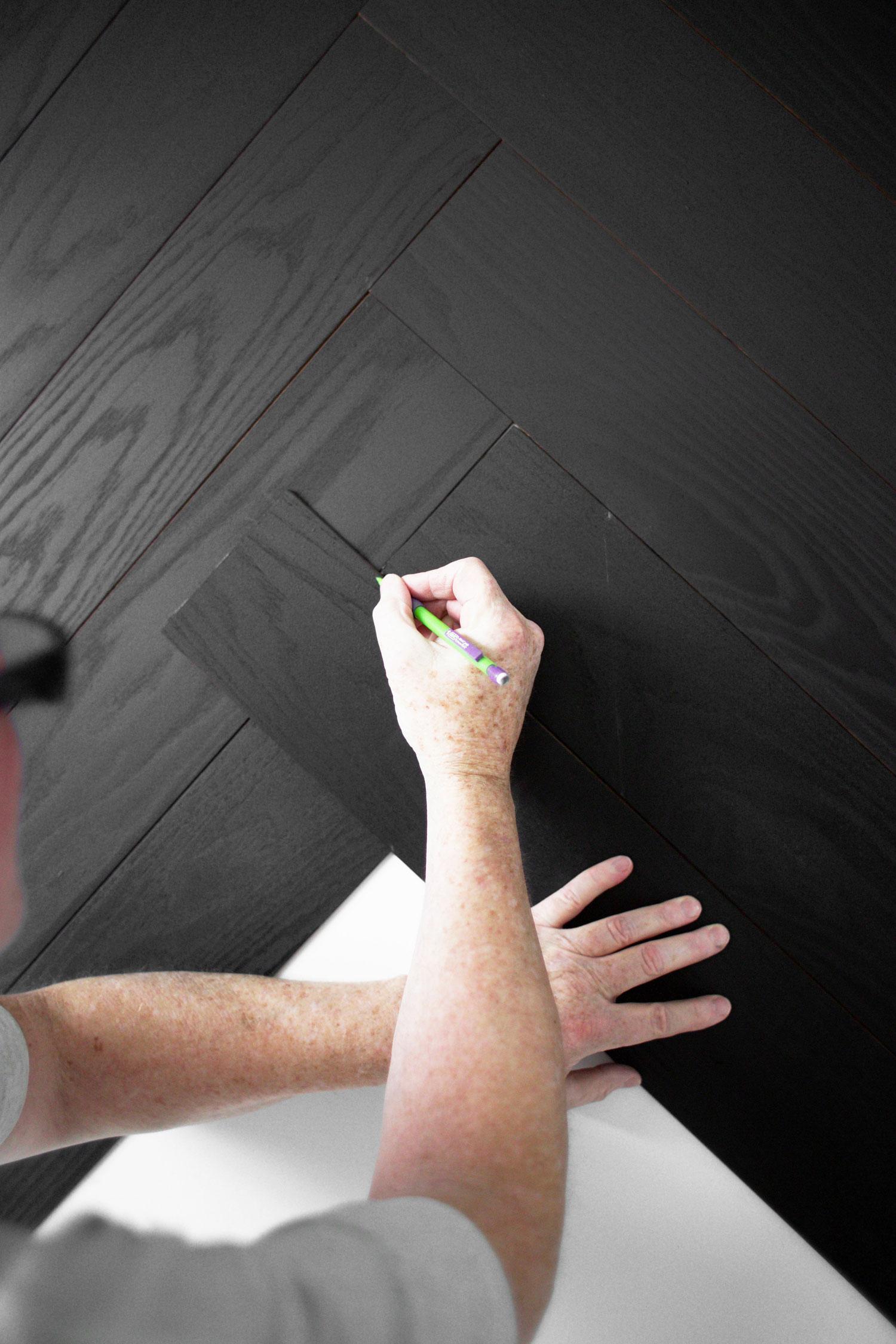 DIY herringbone wall step 6