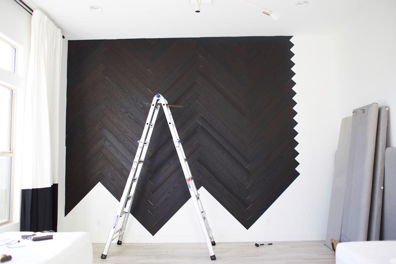 DIY herringbone wall step 9